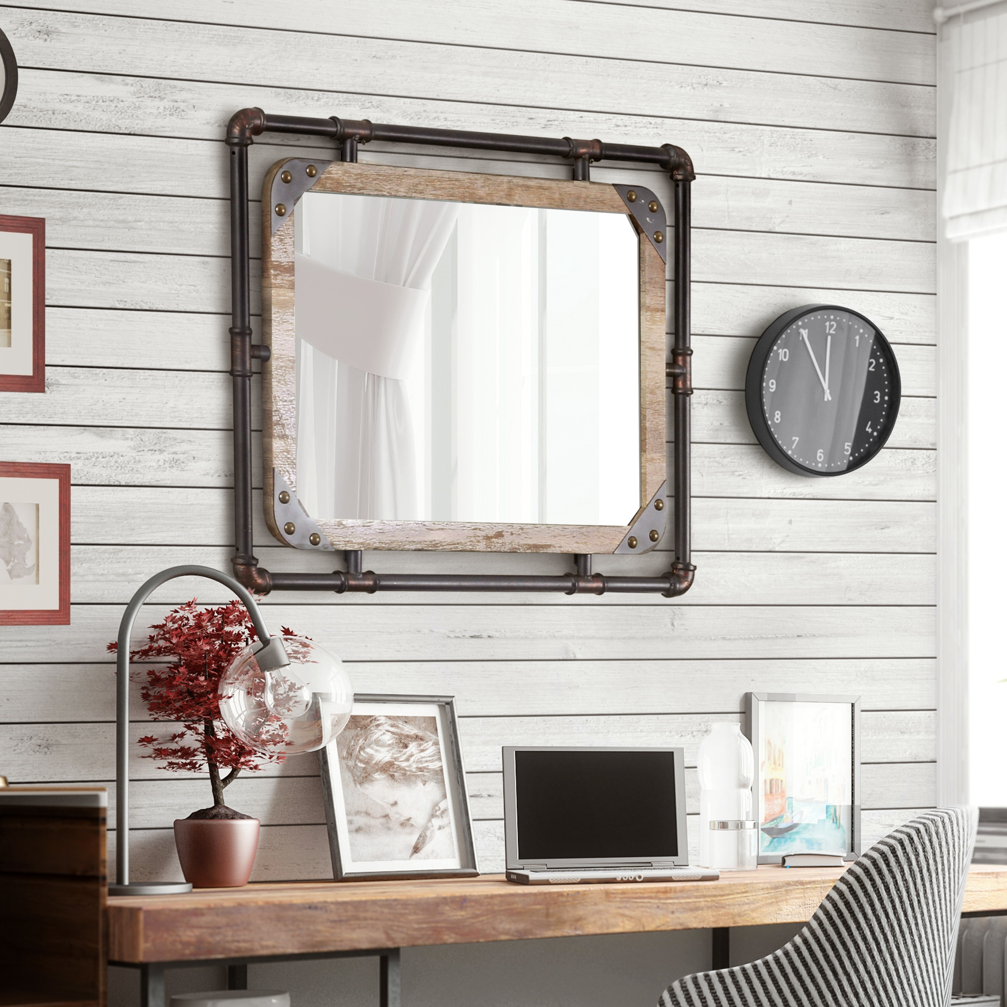 Furniture of America Revo Industrial Antique Black Framed Wall ...