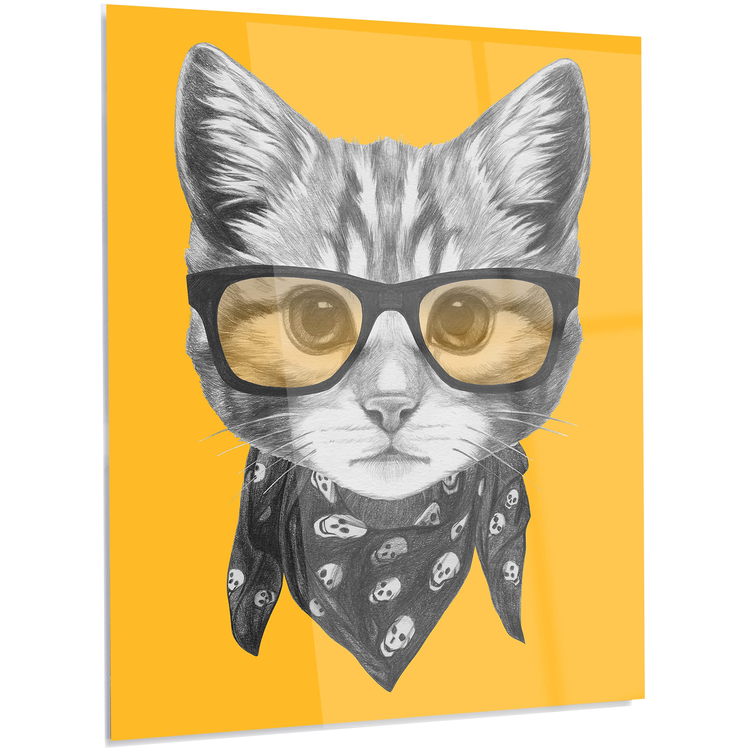 Designart \'Funny Cat with Glasses and Scarf\' Large Animal Metal Wall ...
