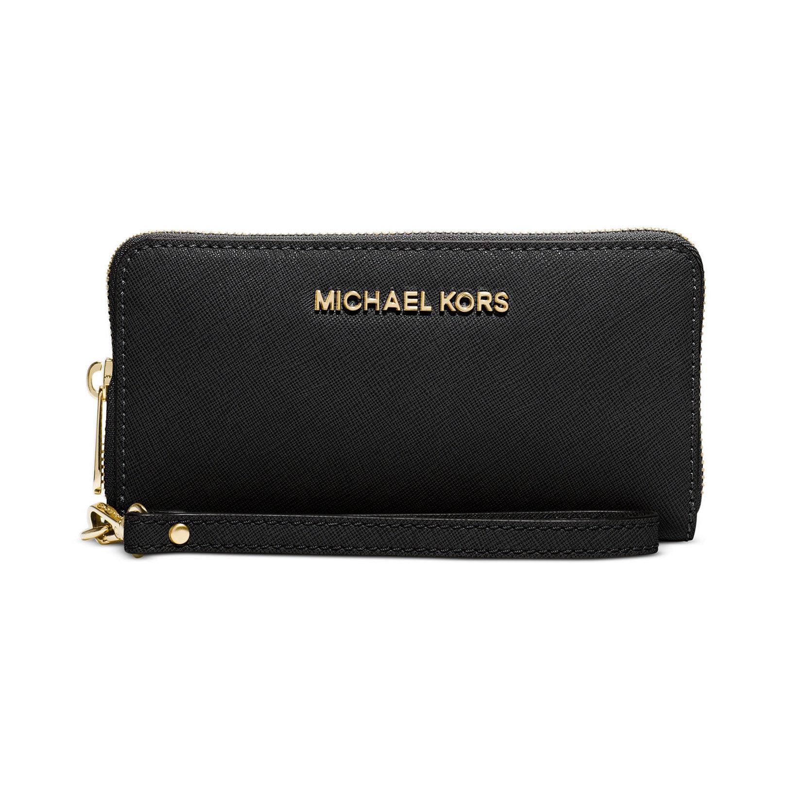 9b80409578c8 Shop Michael Kors Saffiano Jet Set Black Leather Wallet - On Sale ...