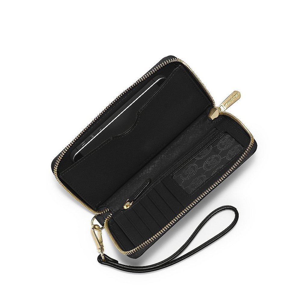 eecdf2fa0082 Shop Michael Kors Saffiano Jet Set Black Leather Wallet - On Sale - Free  Shipping Today - Overstock - 13623772