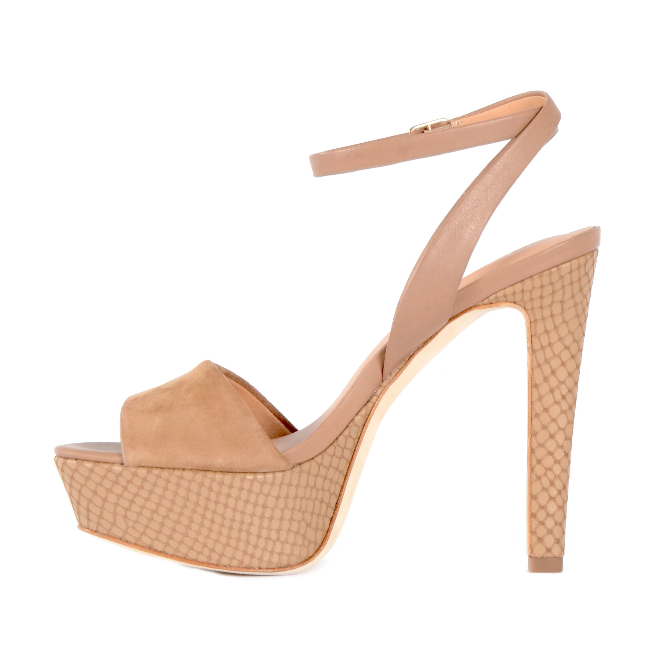 50e89c0927e0 Shop Halston Heritage Women s Bobbie Beige Leather and Suede  Snakeskin-print Platform Sandals - Free Shipping Today - Overstock -  13655332