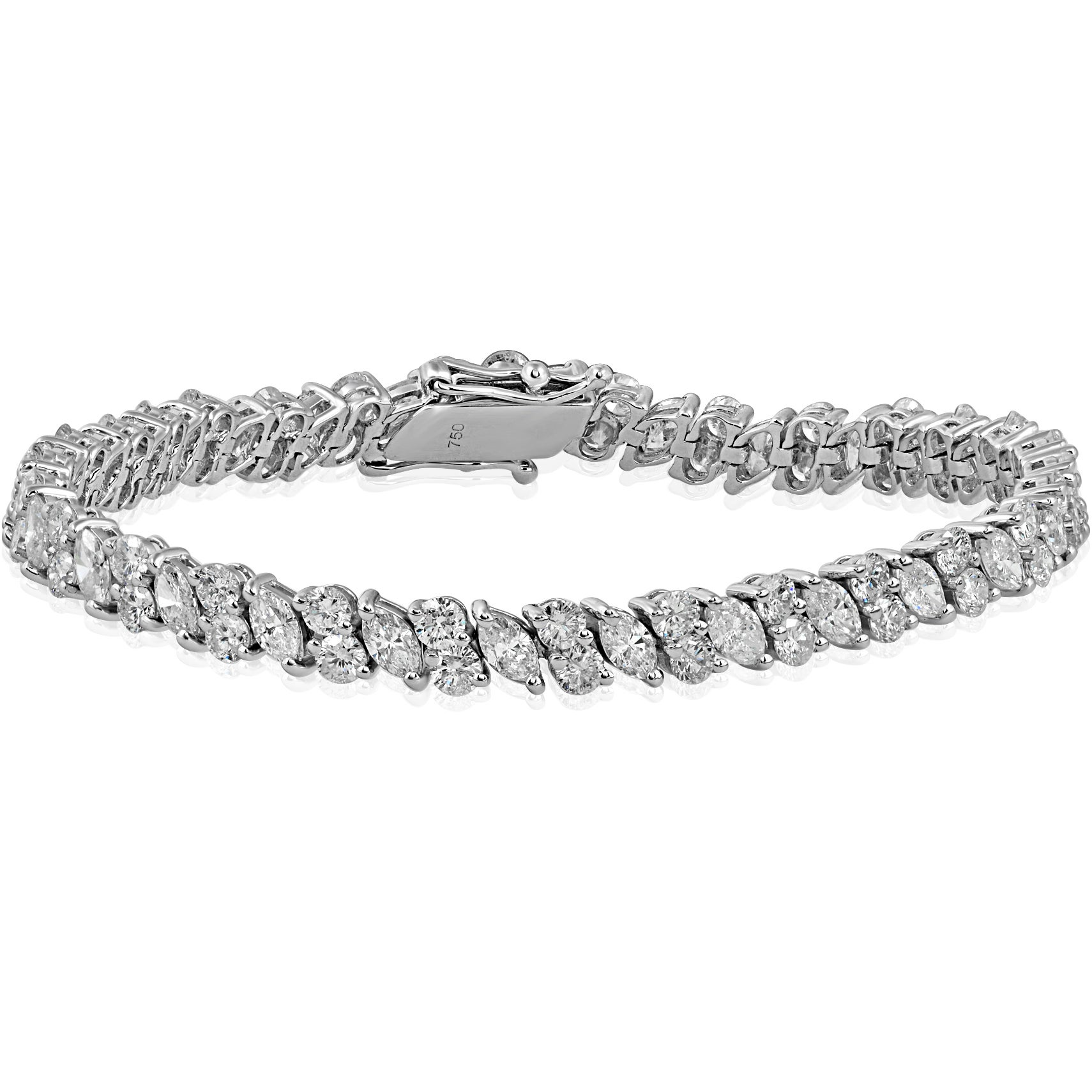 bracelet in diamond with round baguette marquise platinum sons carats diamonds gray and baguet