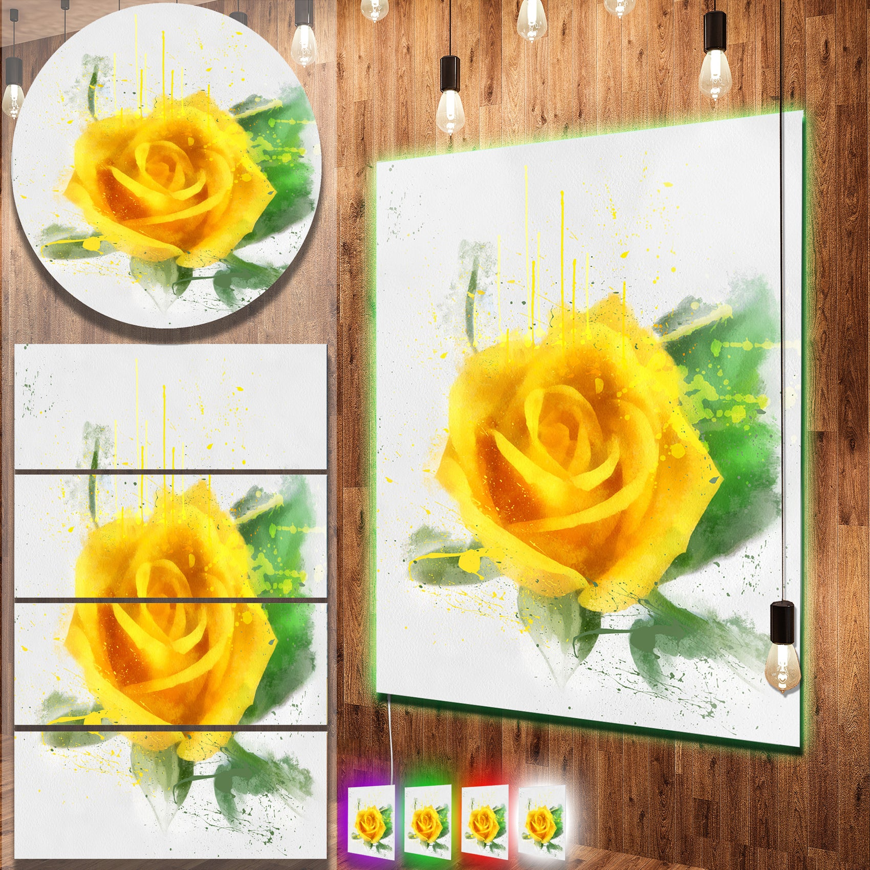 Shop Designart \'Yellow Rose with Green Leaves Sketch\' Contemporary ...