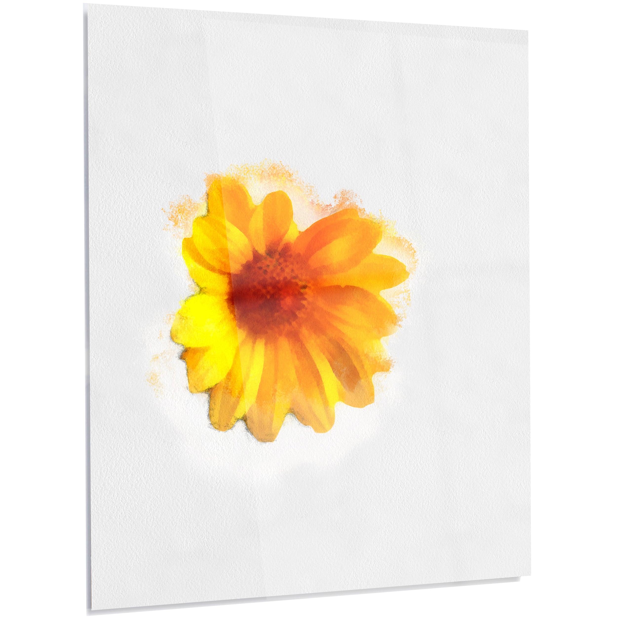 Shop Designart \'Watercolor Yellow Coreopsis Sketch\' Flower Aluminium ...