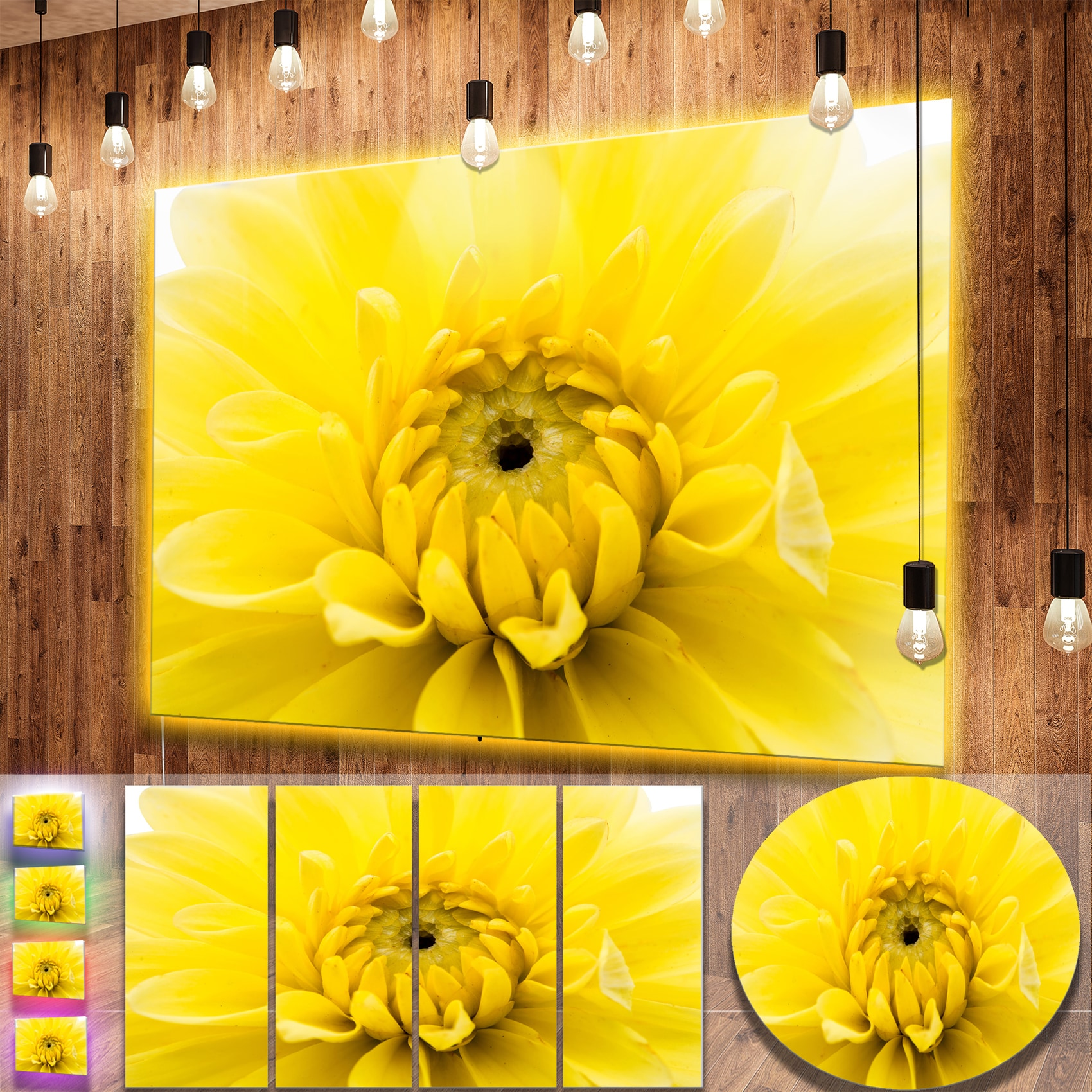 Designart \'Yellow Chrysanthemum Gold Flower\' Flower Metal Wall Art ...