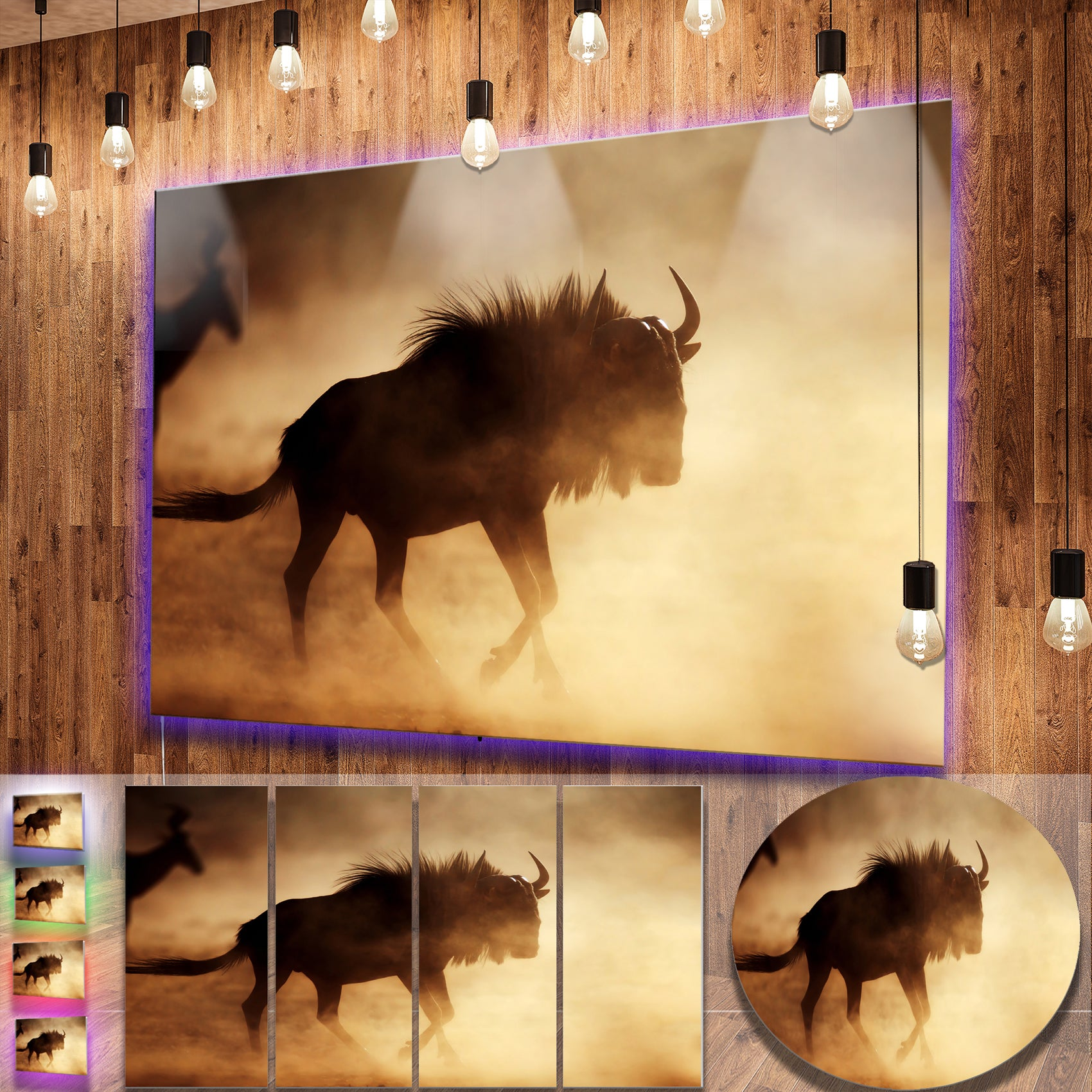 Shop Designart \'Blue Wildebeest Running in Dust\' African Metal Wall ...