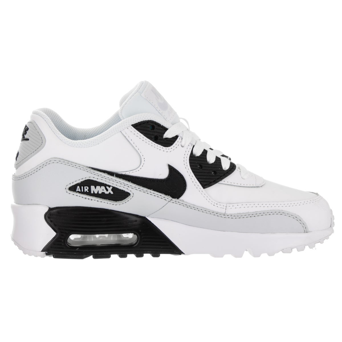 8f18e7d514 Shop Nike Kids' Air Max 90 LTR (GS) White Leather Running Shoe - Free  Shipping Today - Overstock - 13679964