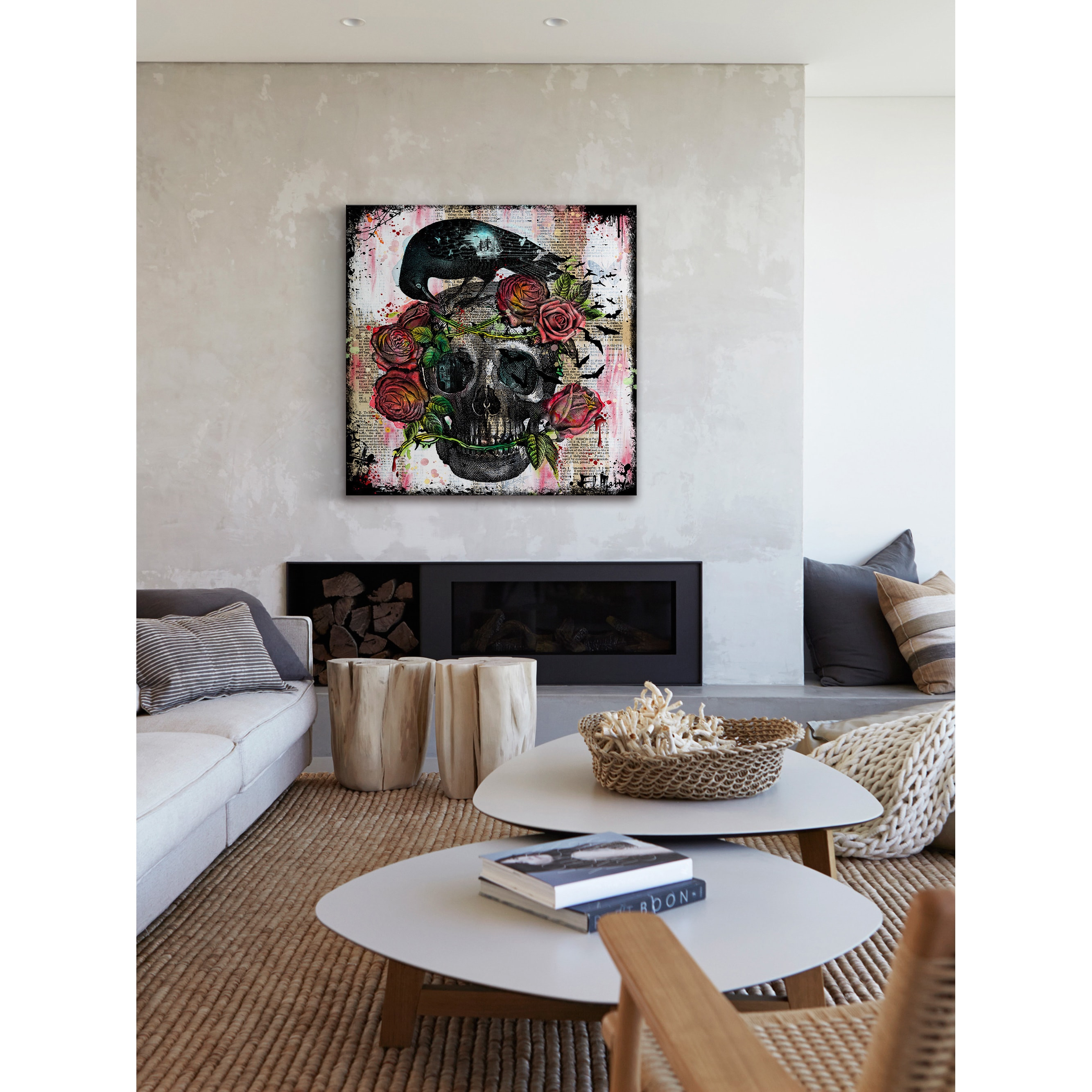 Marmont Hill Vicki Butler Skull Roses Painting Print on Wrapped