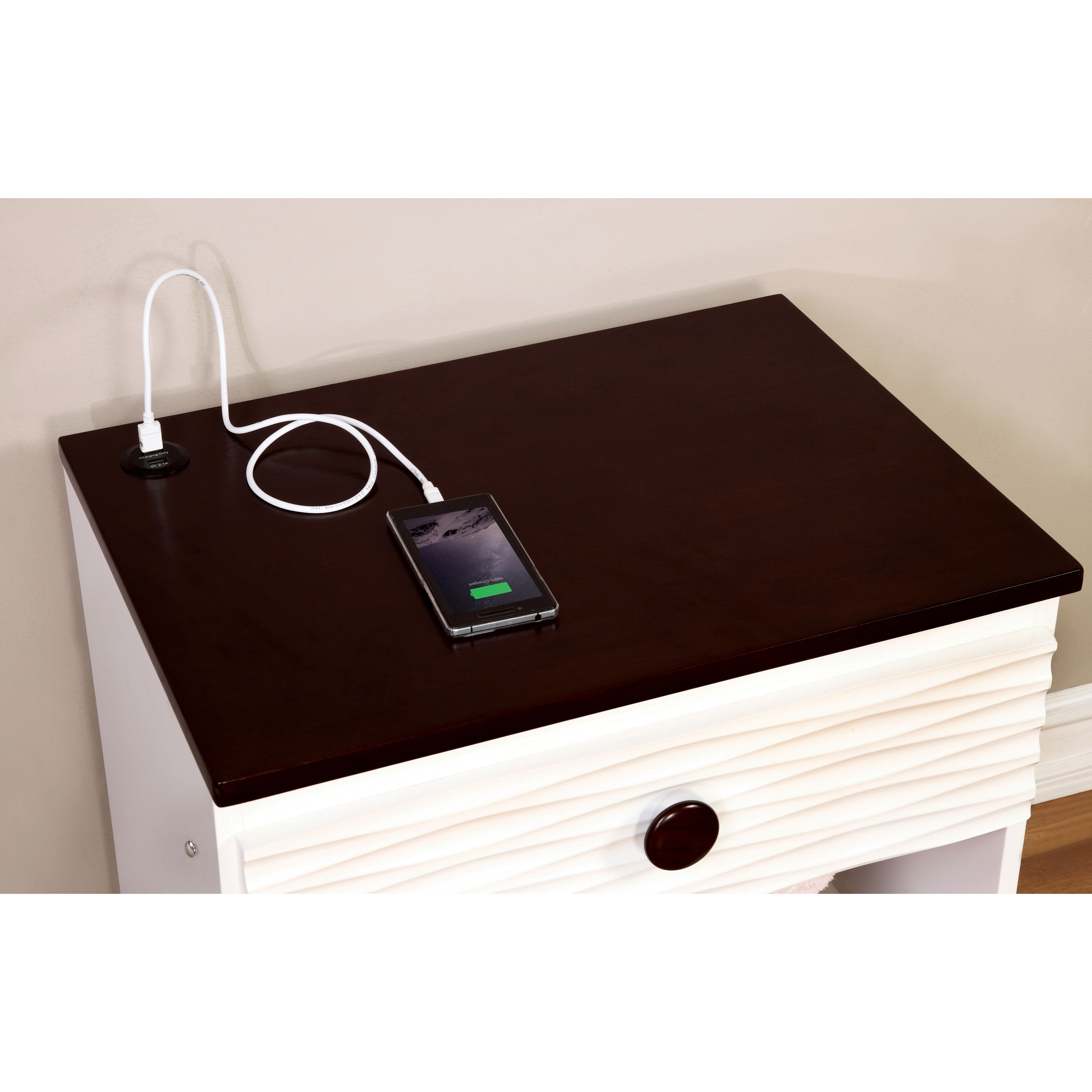 Shop Furniture Of America Trisha Contemporary White Youth Nightstand With USB Power Outlet And LED Light
