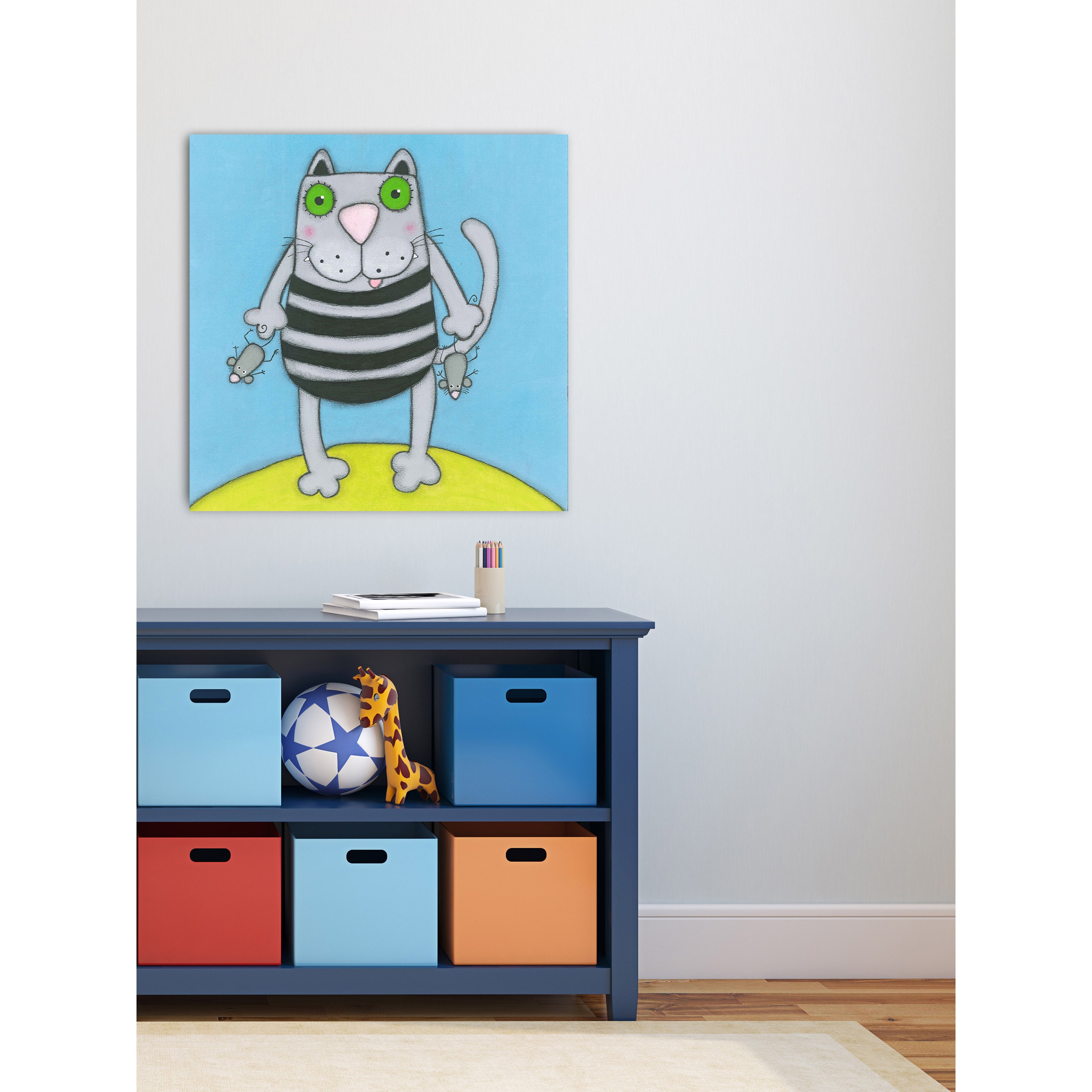 Shop Marmont Hill - \'Cat with Mice\' by Tatijana Lawrence Painting ...