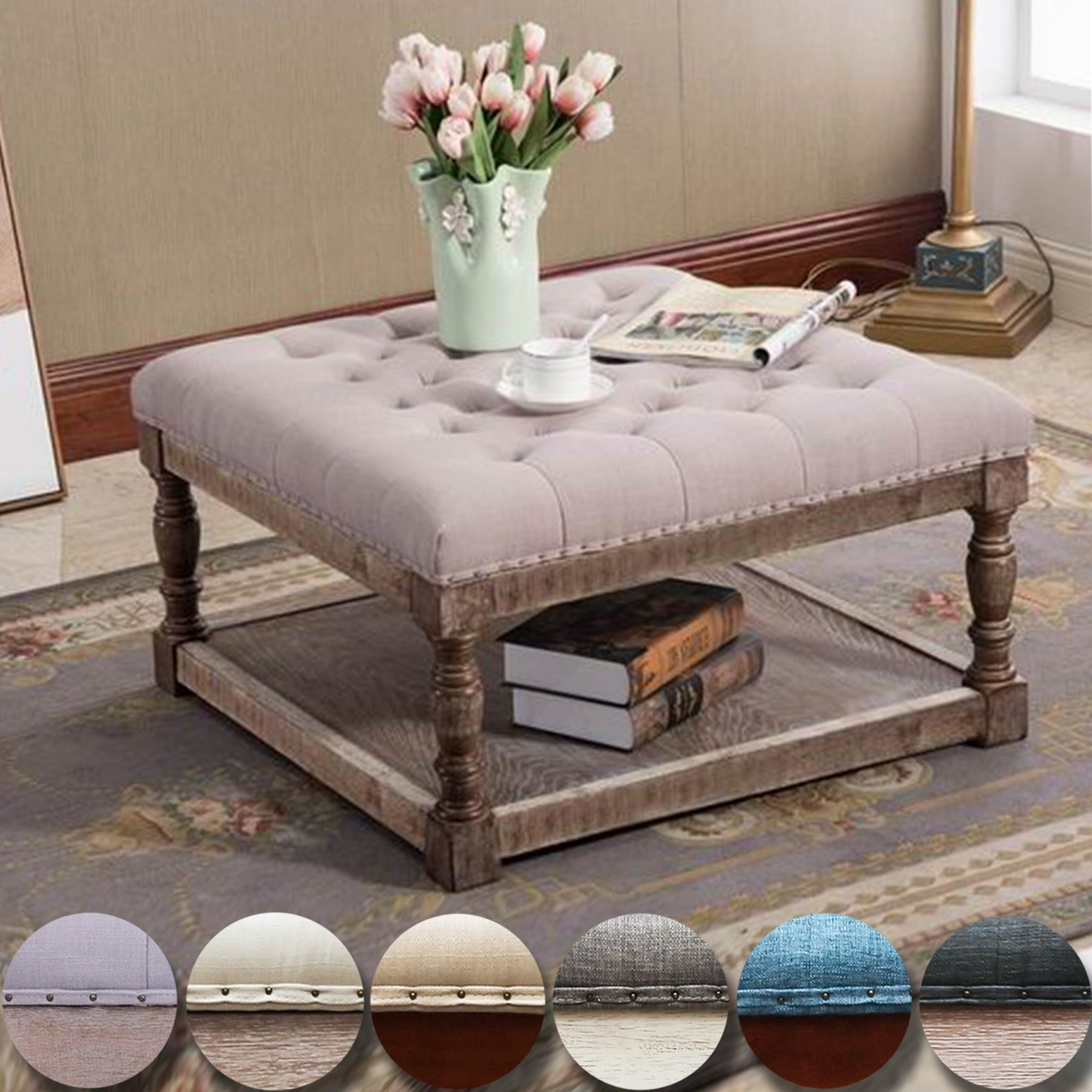 Cairona Fabric 30 Inch Tufted Shelved Ottoman Coffee Table Optional Colors