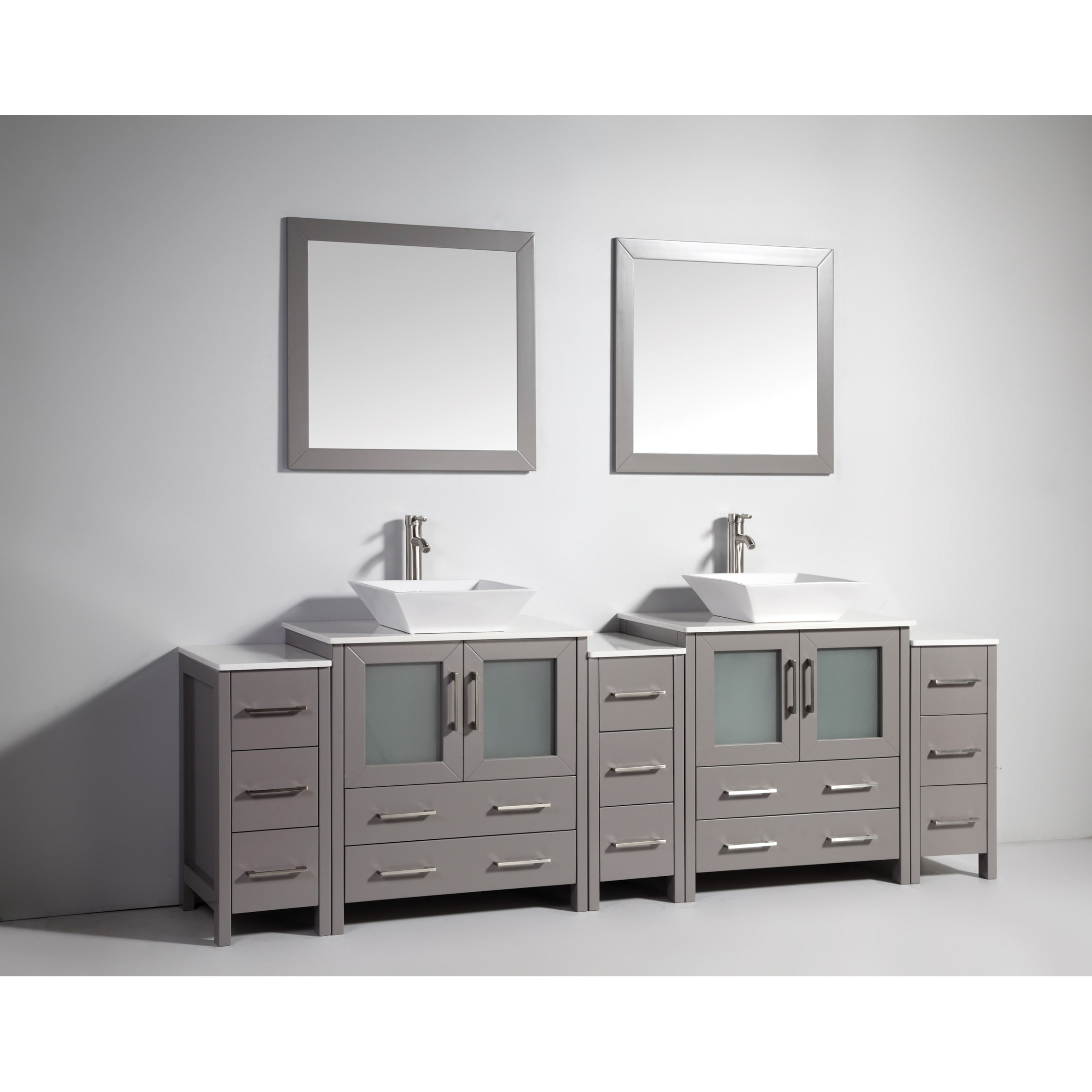 Shop vanity art 96 inch double sink bathroom vanity set with ceramic top free shipping today overstock com 13681622