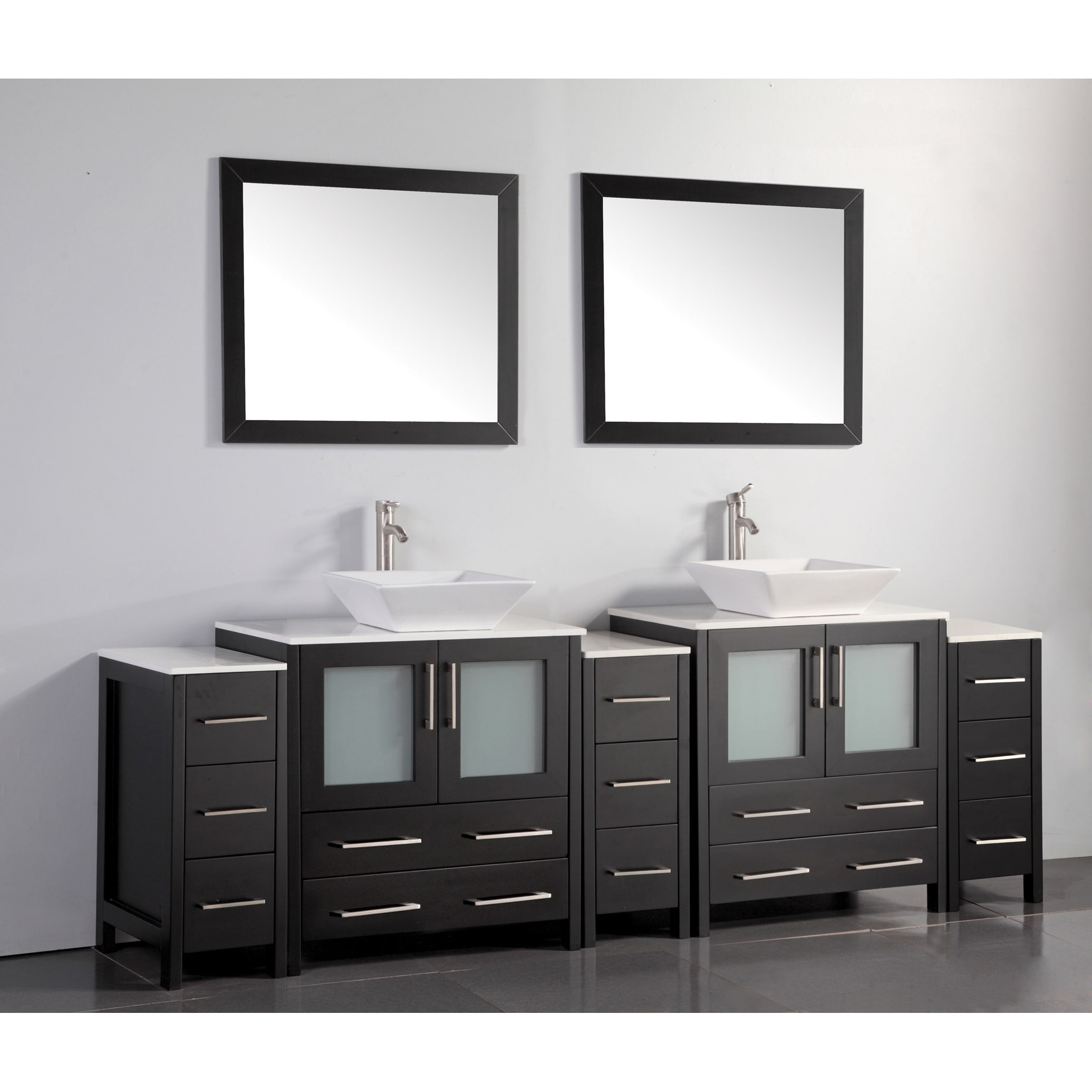 Shop Vanity Art 96 Inch Double Sink Bathroom Vanity Set With Ceramic ...