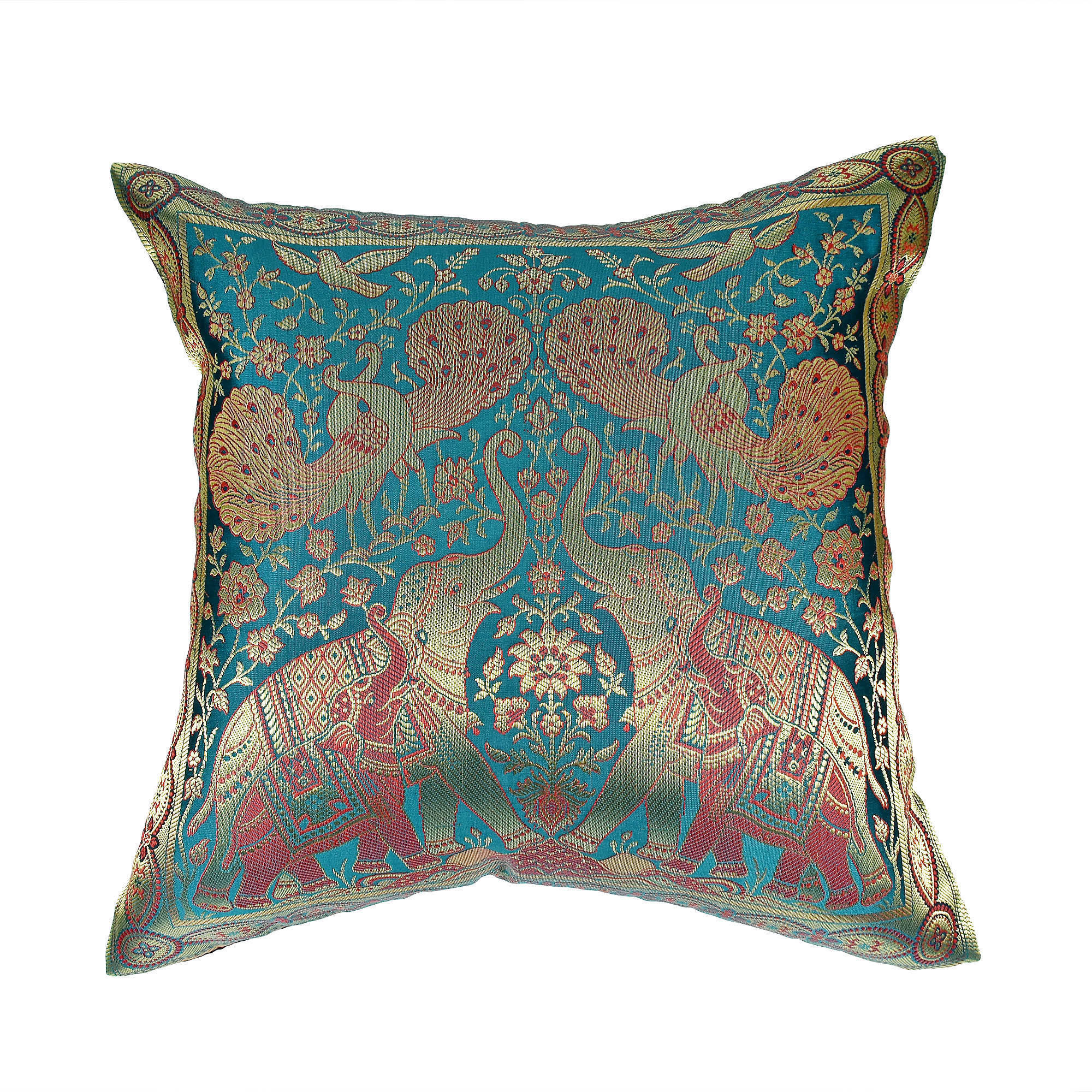 d2751269a5ed82 Shop Handmade Elephant Peacock N Bird Silk Throw Pillow Cushion Cover Set ( Thailand) - On Sale - Free Shipping On Orders Over  45 - Overstock -  13681657