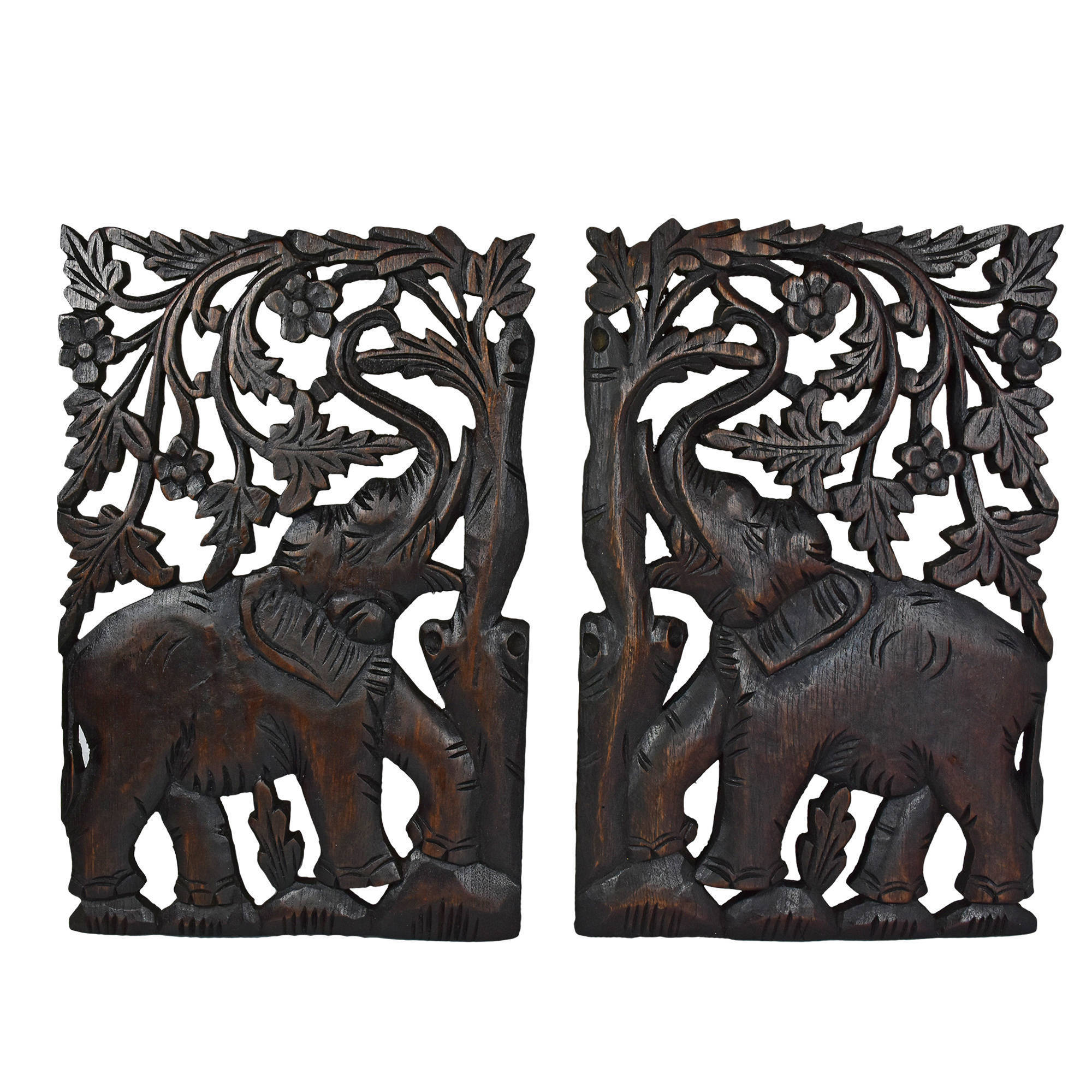 Leisurely Couple Elephant Hand Carved Wood Wall Art Panel Set Thailand