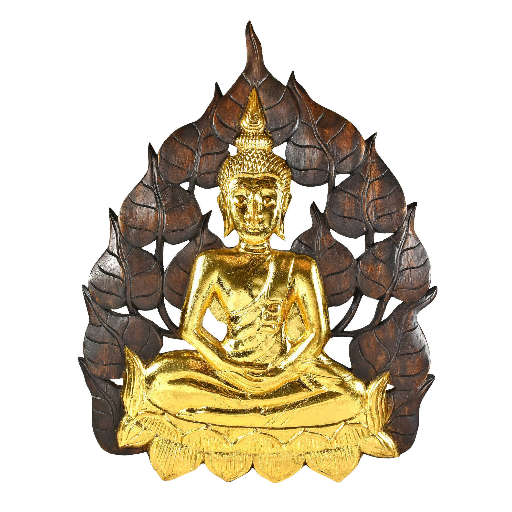 Shop Handmade Enlightened Golden Buddha Bodhi Tree Leaf Wall Art ...