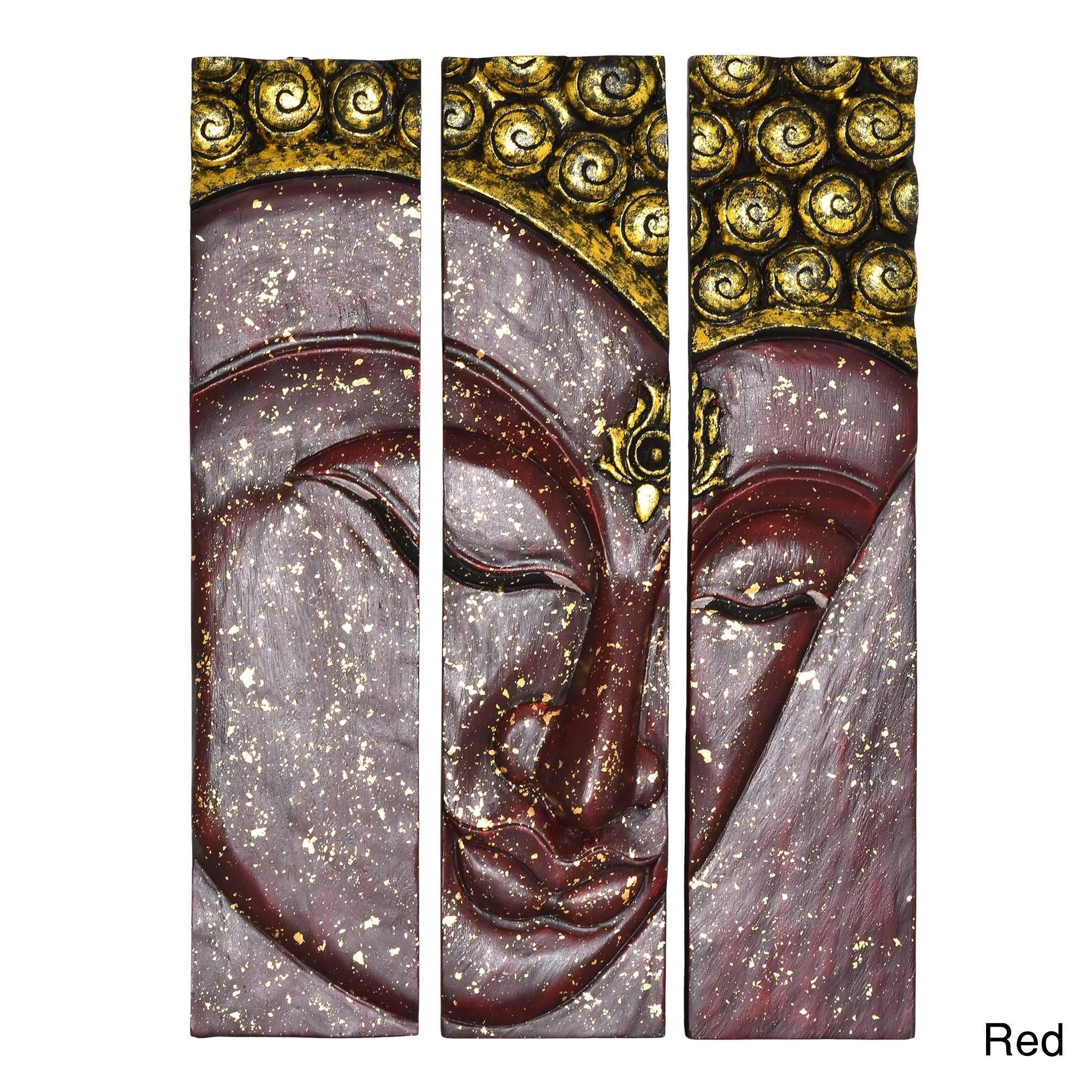 Shop Buddha Face Three Panel Handmade Wood Wall Art 20x30 Thailand