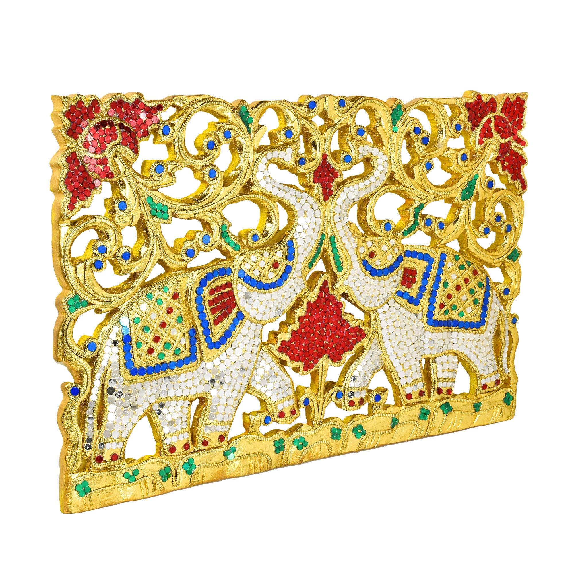 Shop Duality Royal Elephant Handmade Gold Teak Wood Wall Art ...