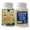 Amino Trim 3-in-1 Fat Burner Day Time Combo Pack with Night Slim- Weight Loss While You Sleep-1 or 2 month supply