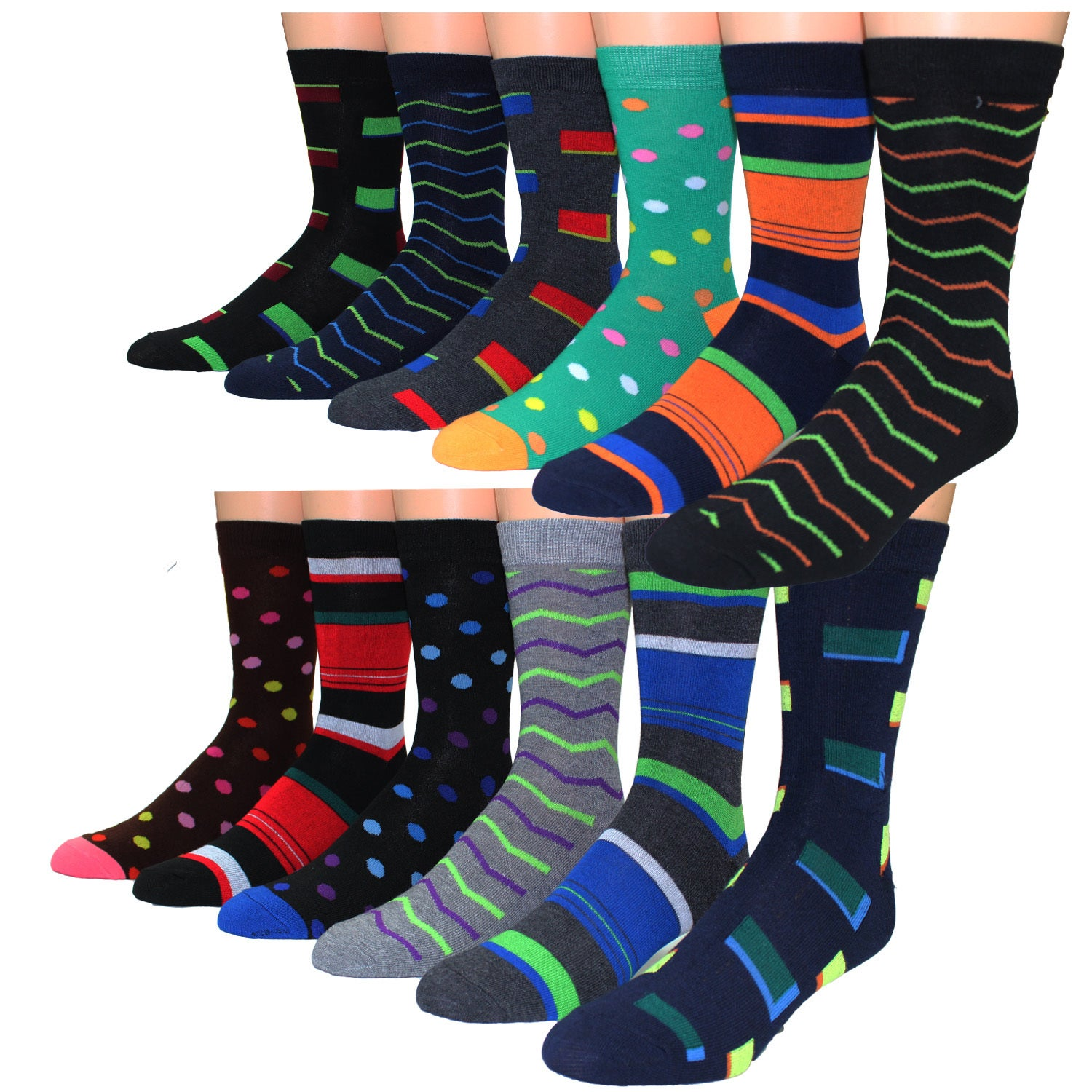 Frenchic Men s Multicolor Cotton blend Printed Casual Dress Socks