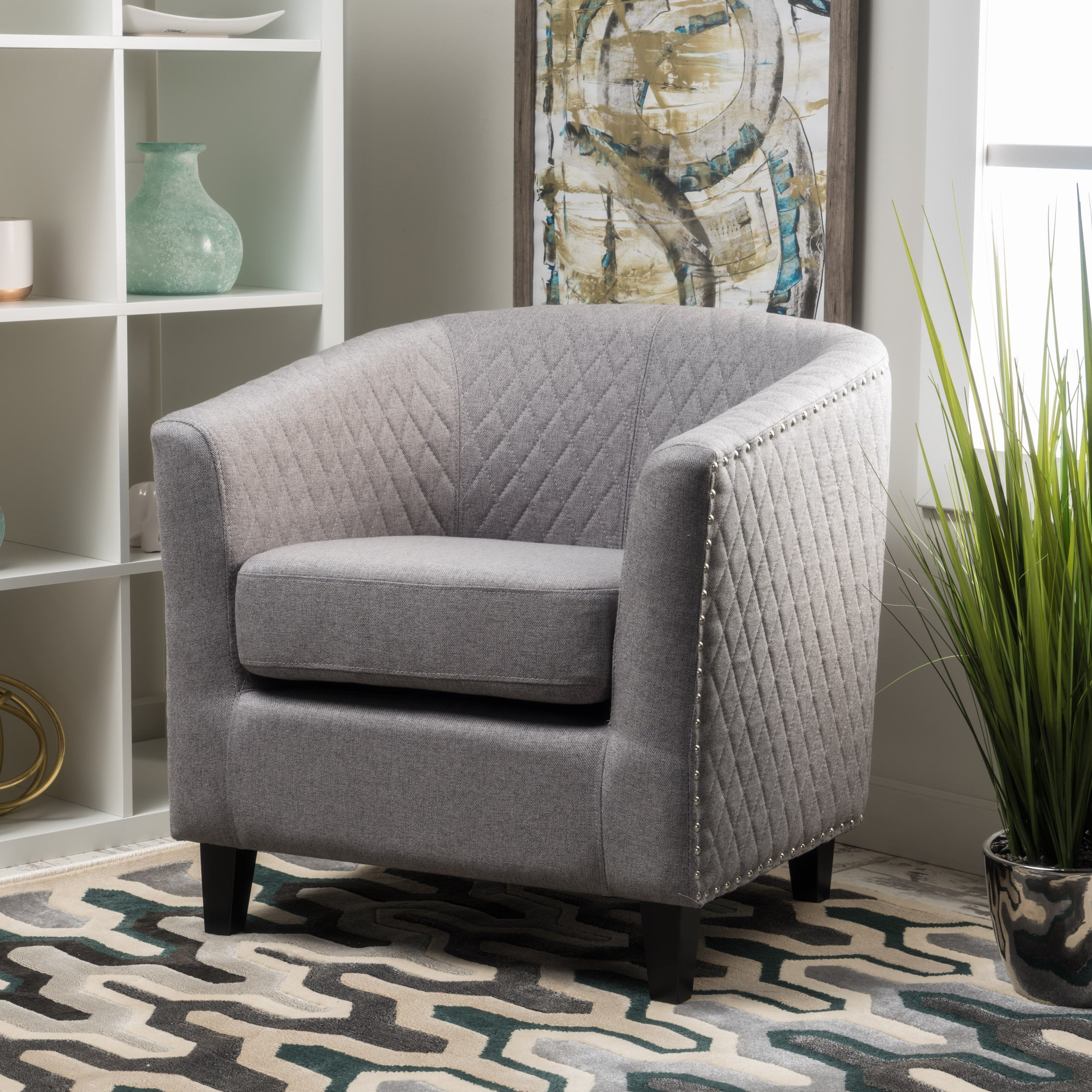 Shop Mia Quilted Fabric Club Chair By Christopher Knight Home   On Sale    Free Shipping Today   Overstock.com   13683493