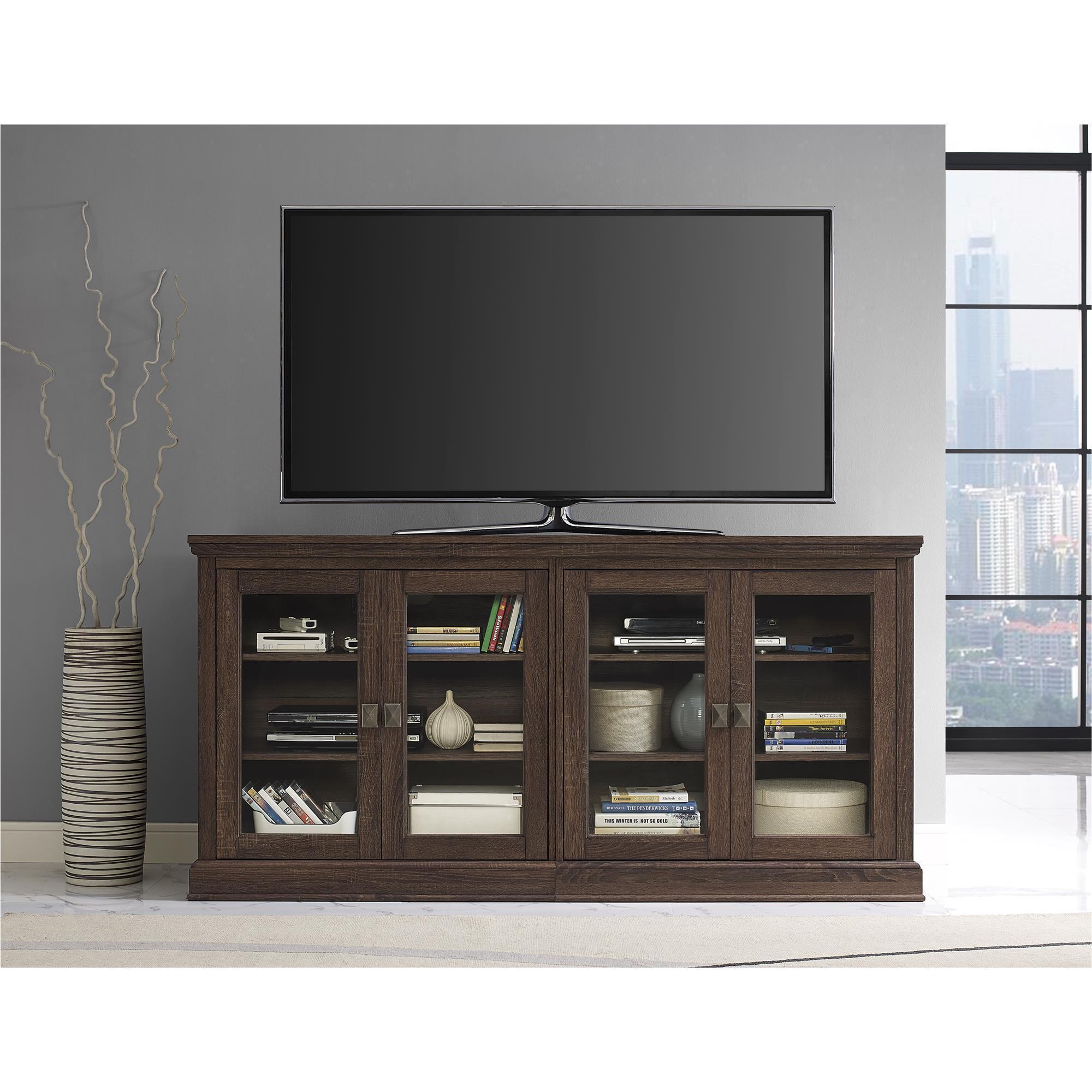 Shop Altra Bennett 70 Inch Medium Oak Tv Console With Glass Doors