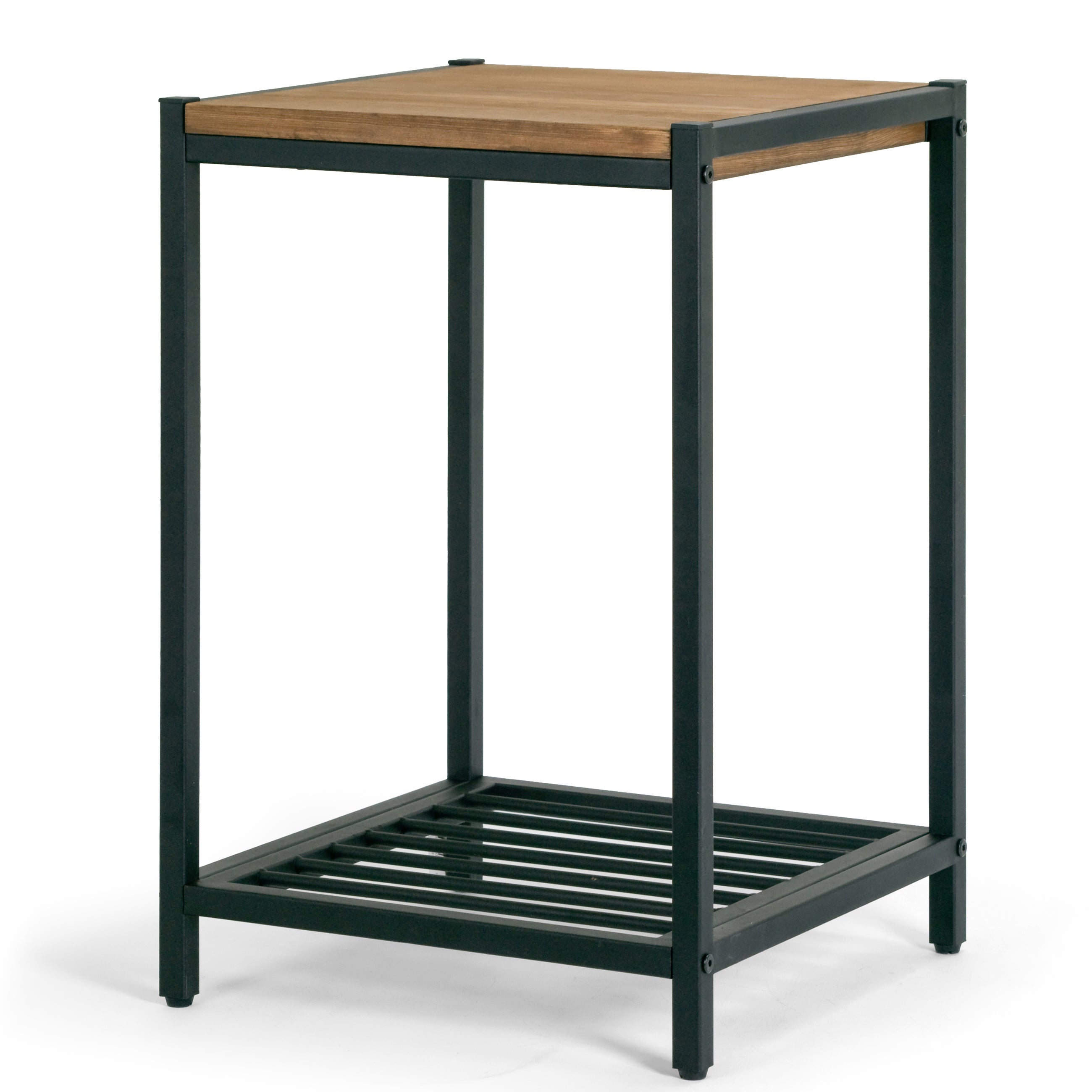 Shop Ailis Brown Pine Wood Black Metal Frame Accent End Table   Free  Shipping Today   Overstock.com   13689079