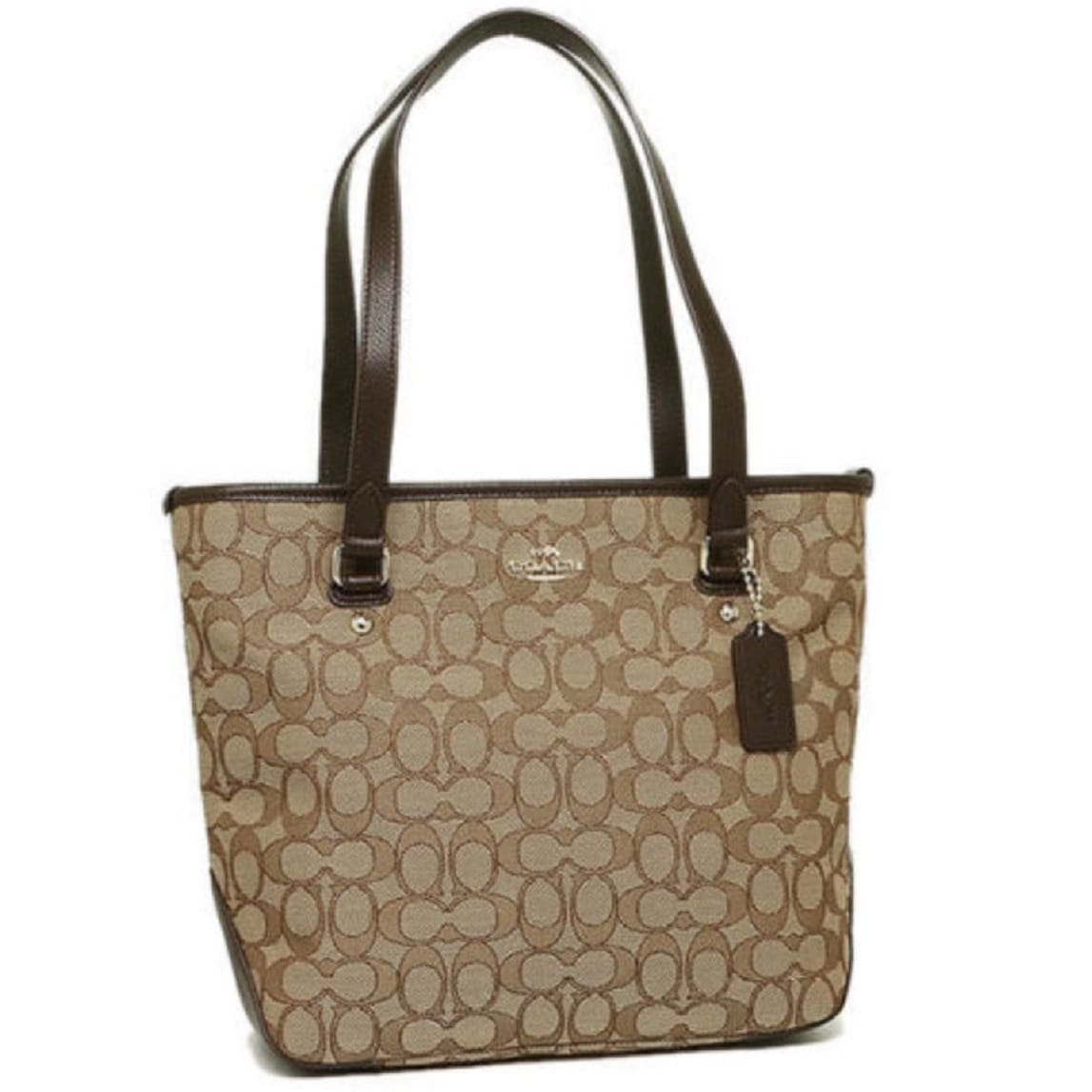 b39ffd647e7 Shop Coach F55364 Outline Signature Khaki Brown Zip Tote - On Sale - Free  Shipping Today - Overstock.com - 13690316