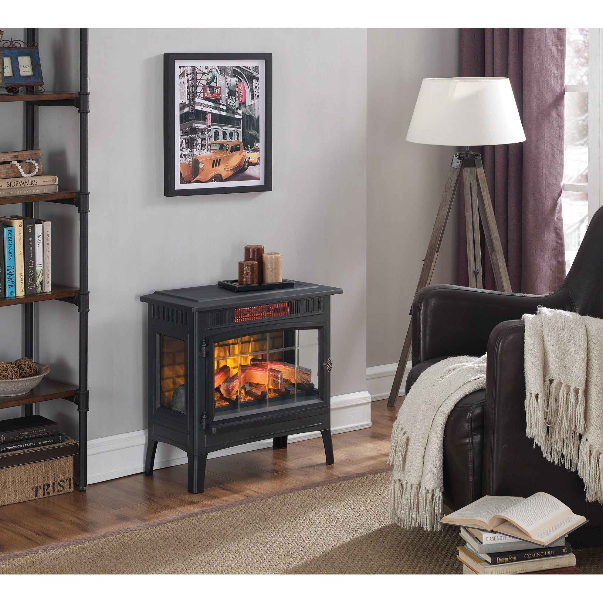 Shop Infrared Quartz Fireplace Stove With 3d Flame Effect Black