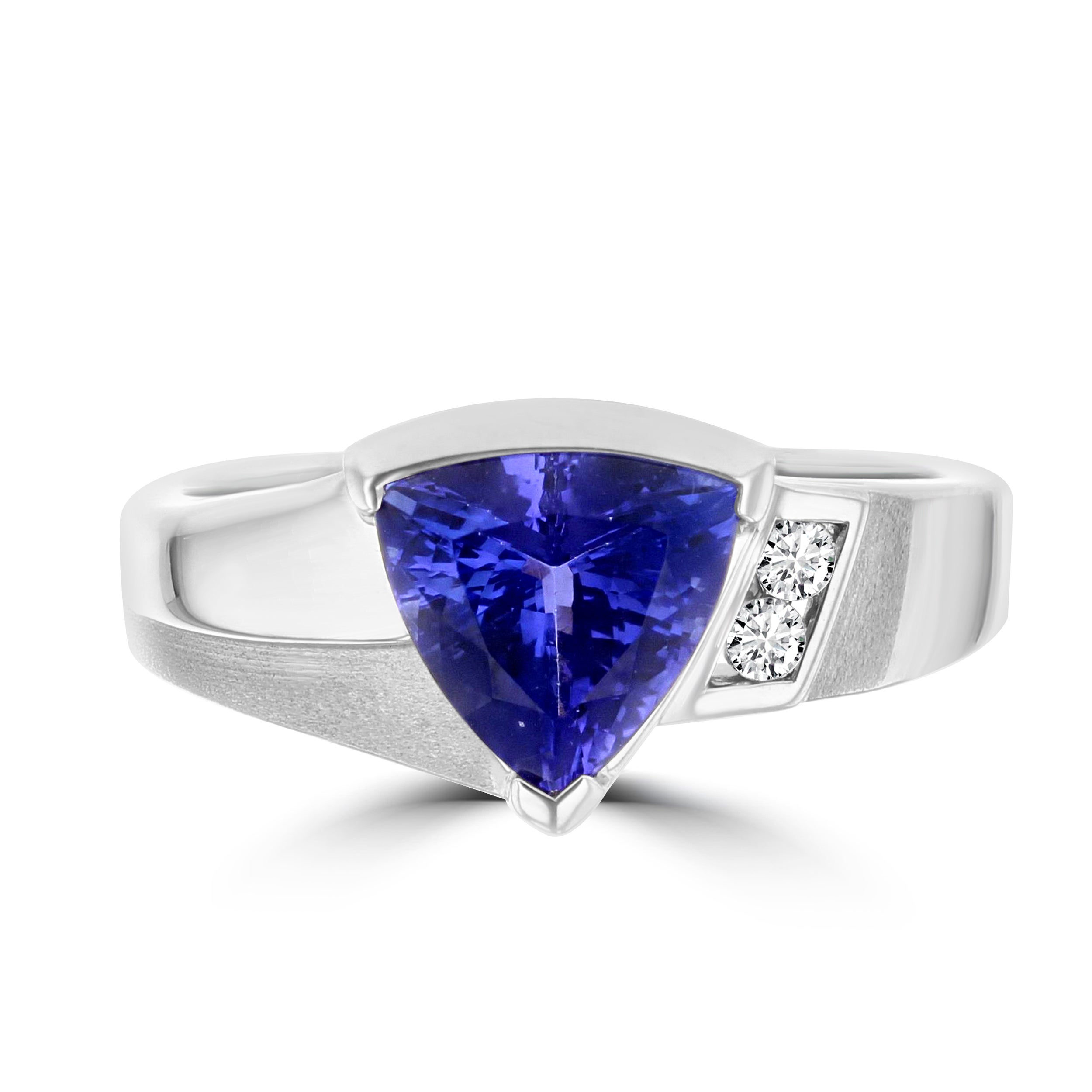 solitaire natural trillion if white tanzanite blue solid ring band gold cut engagement twisted