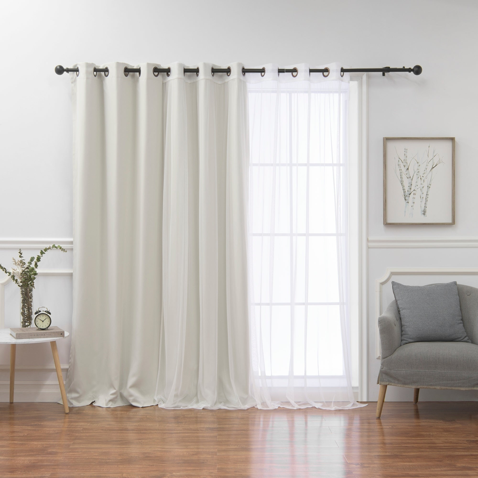 Aurora Home Mix Match Wide Width Blackout And Sheer Curtain Panel