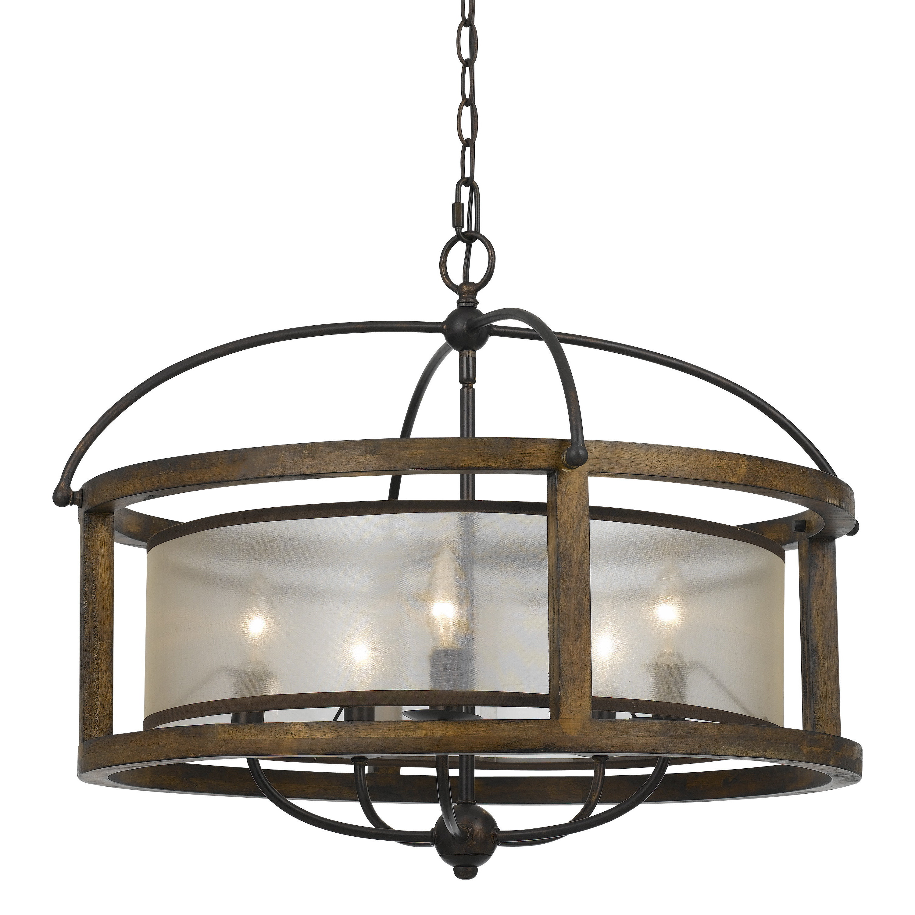 Mission style metal and wood 5 light chandelier