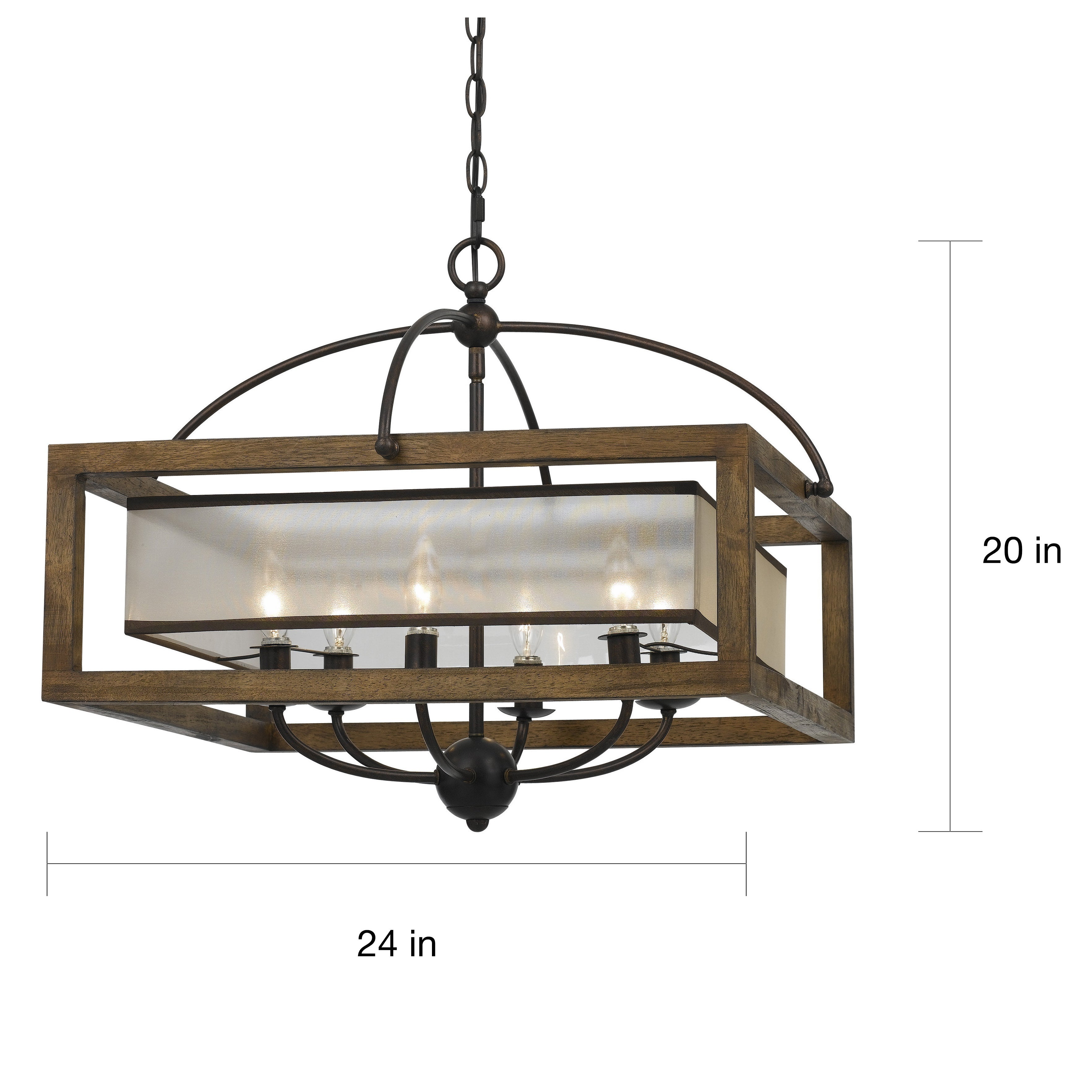 Shop bronze finish 6 light square 60 watt chandelier free shipping today overstock com 13742158