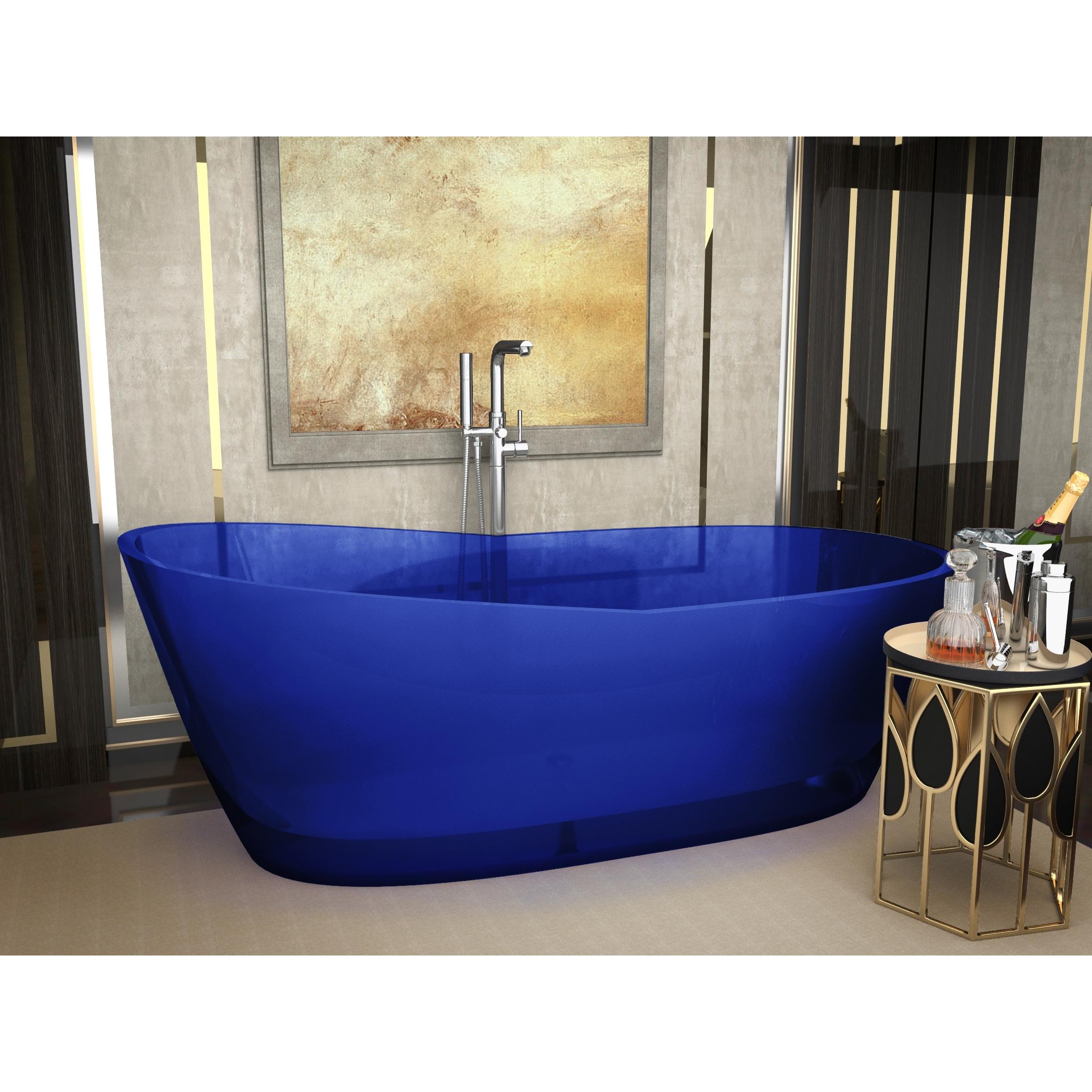 ANZZI Ember 5.4 ft. Man-Made Stone Center Drain Freestanding Bathtub ...