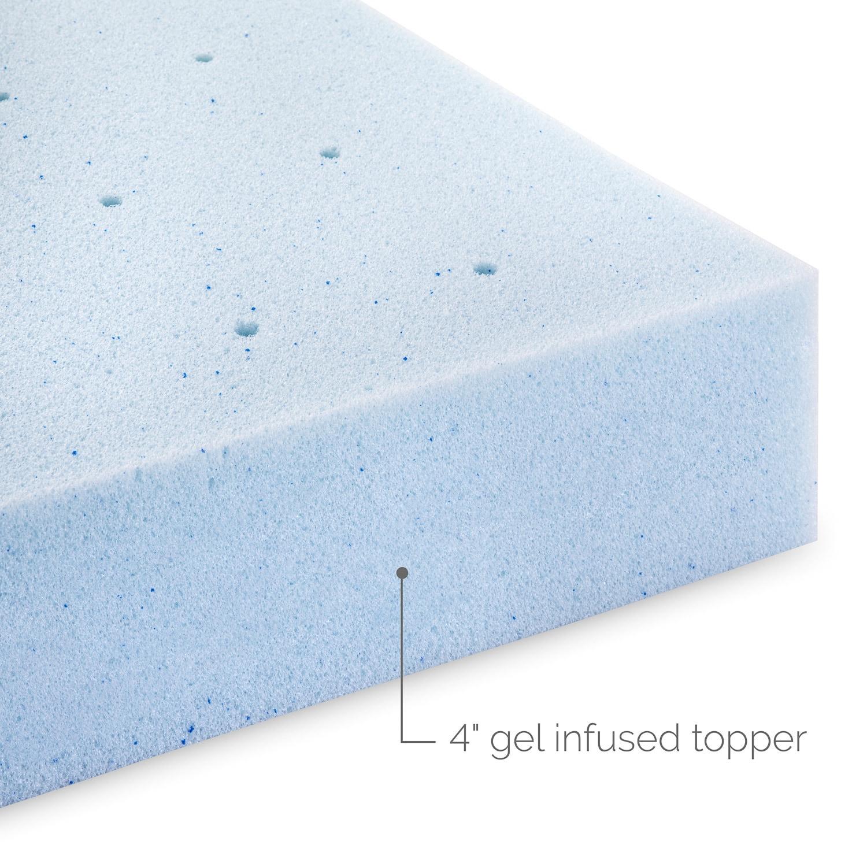LUCID 4Inch Gel Memory Foam Mattress Topper Free Shipping Today