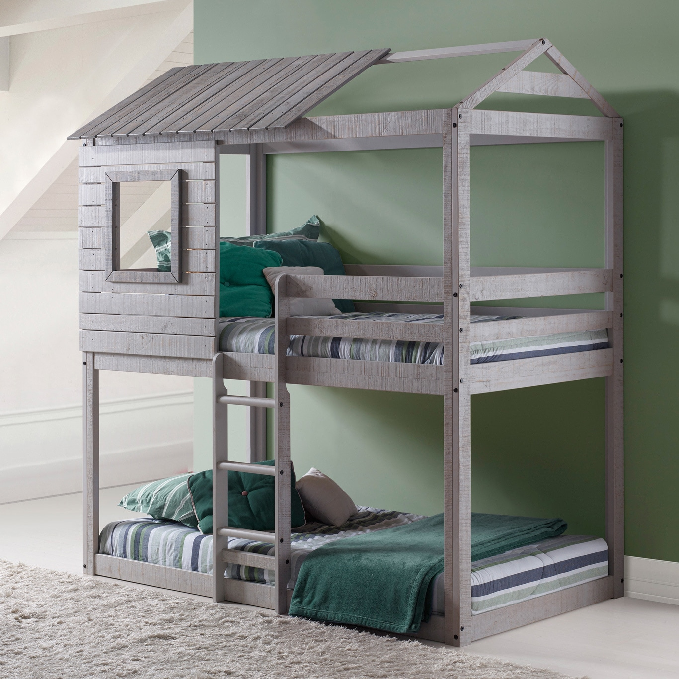 cool bunk beds for adults front large window shop donco kids loftstyle light grey twin over bunk bed on sale free shipping today overstockcom 13751471