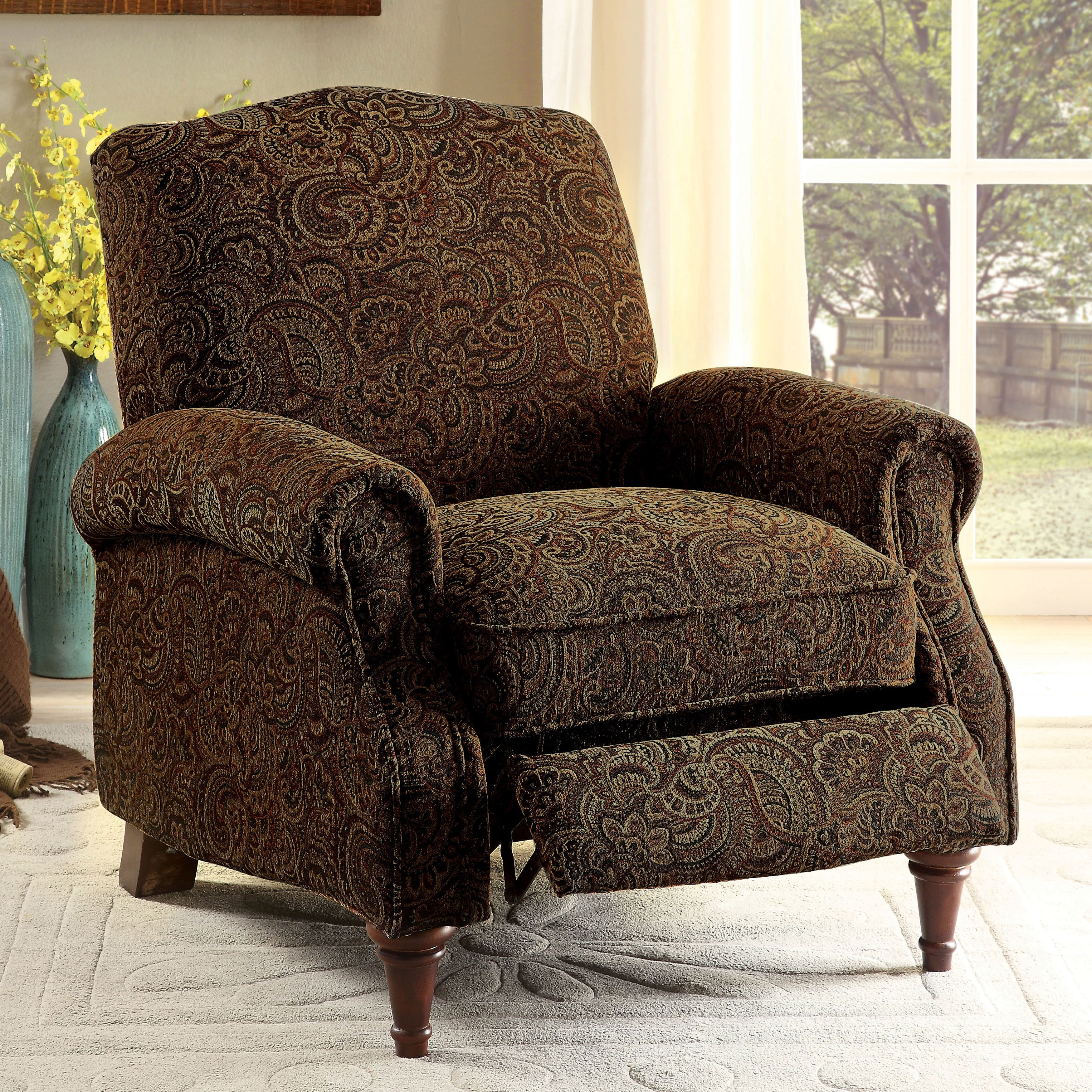 Shop furniture of america vargo paisley brown push back recliner chair free shipping today overstock com 13767755