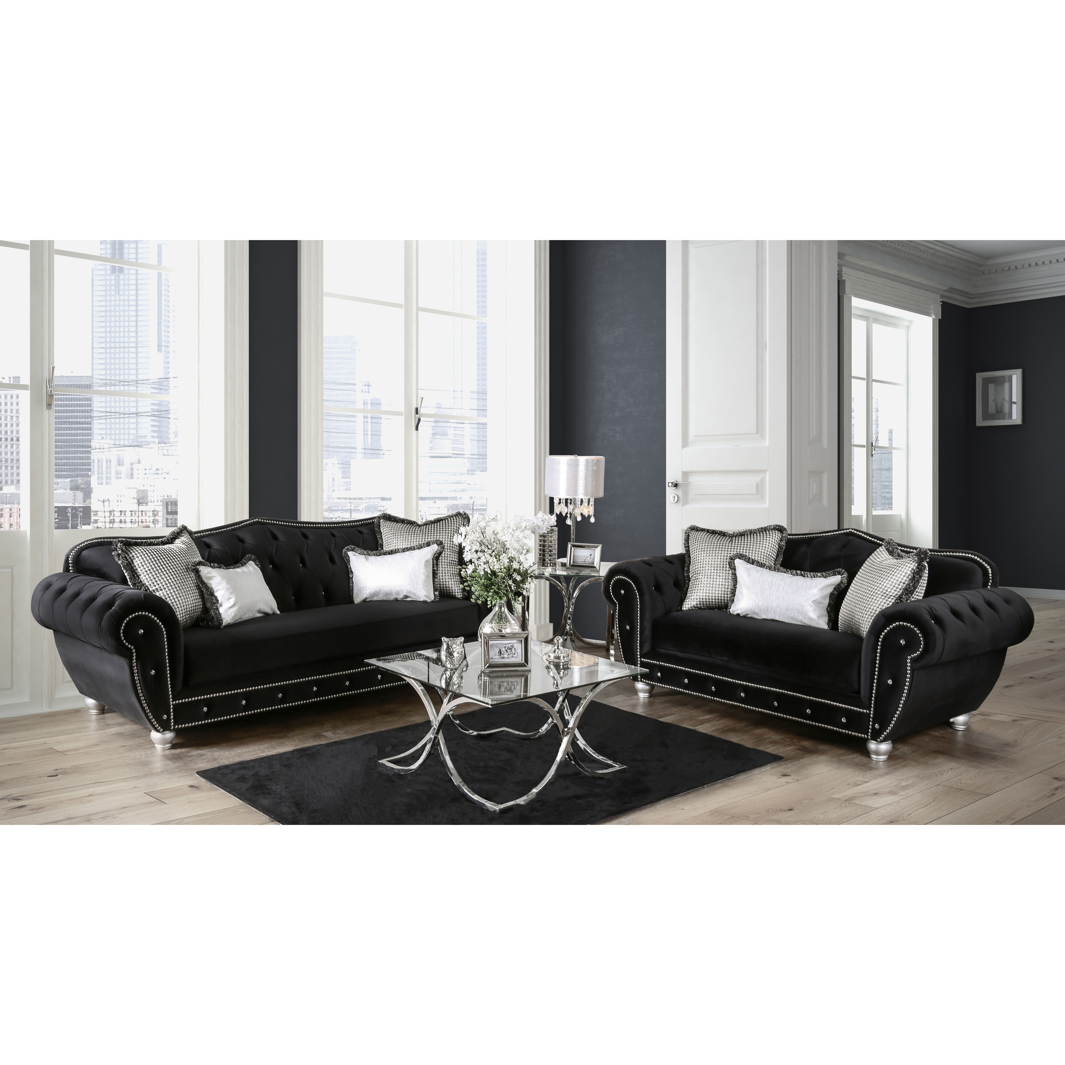 Furniture Of America Renee Formal 2 Piece Premium Black Tufted Velvet Sofa Set On Free Shipping Today 13767801