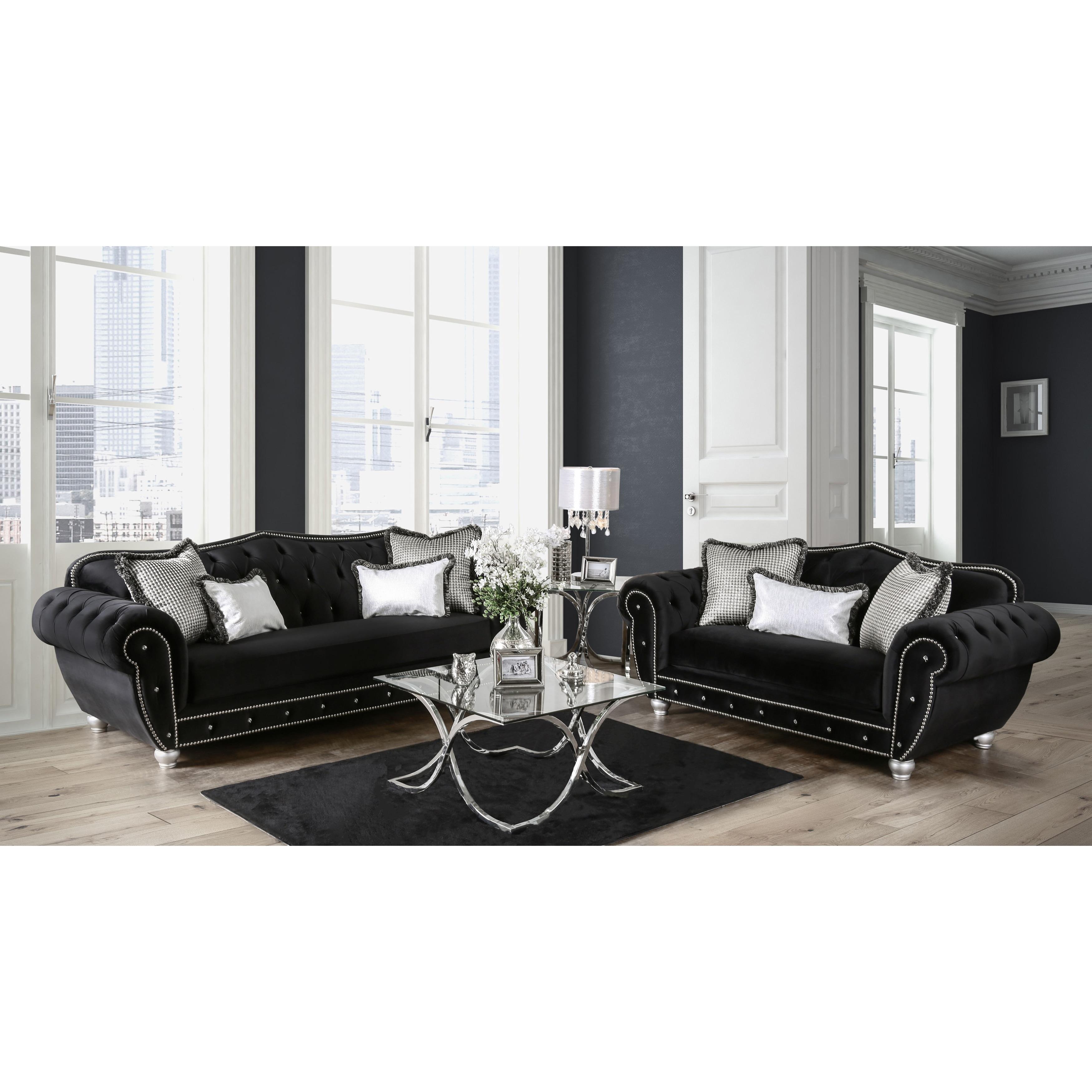 Beau Shop Furniture Of America Renee Formal 2 Piece Premium Black Tufted Velvet  Sofa Set   On Sale   Free Shipping Today   Overstock.com   13767801