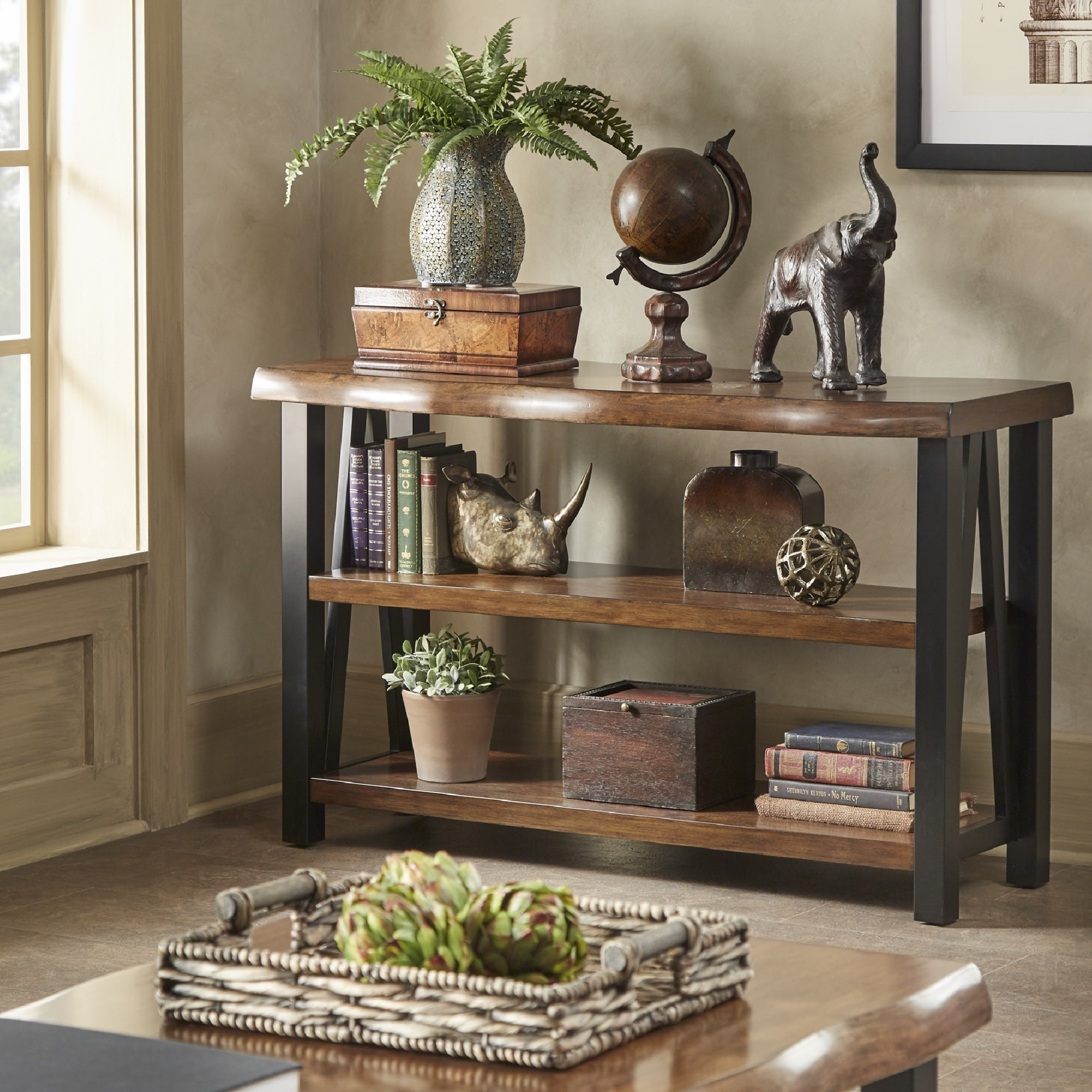 Shop Banyan Live Edge Wood And Metal Console Sofa Table Bookshelf By