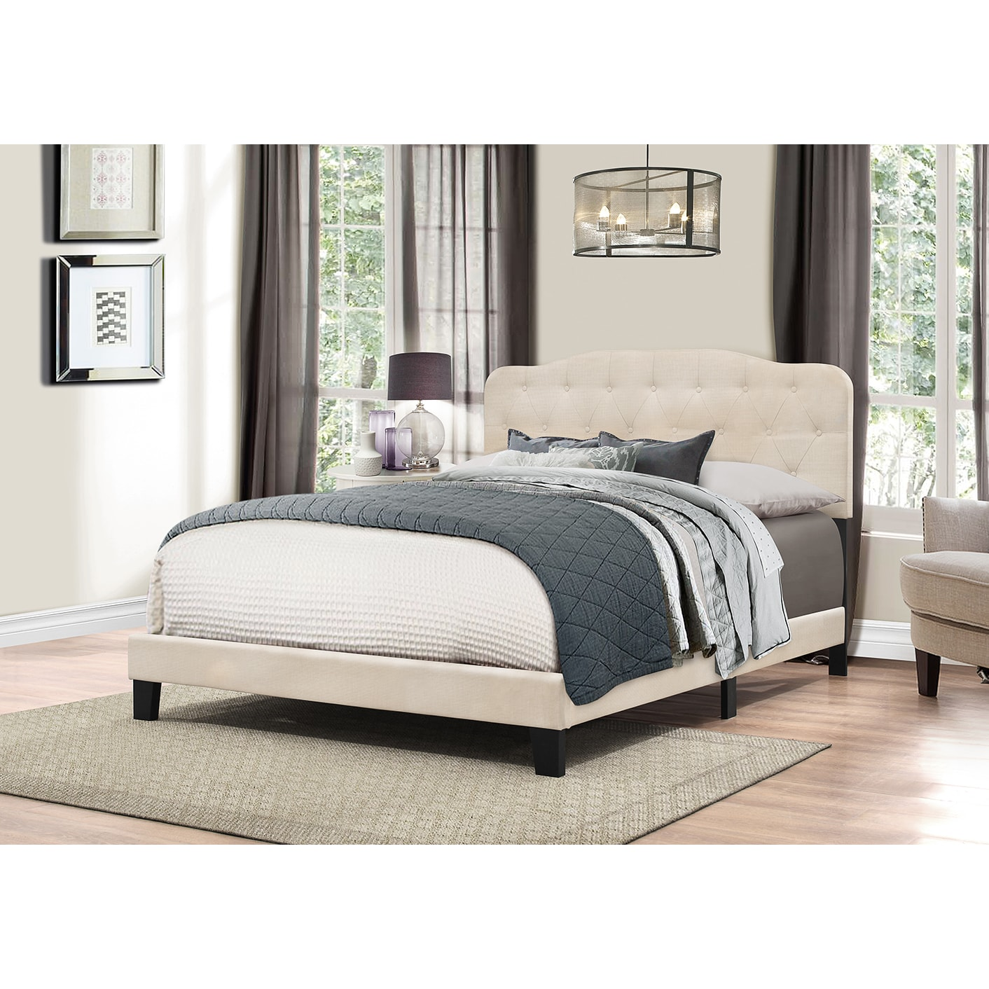 Shop hillsdale furniture nicole linen fabric bed headboard in one free shipping today overstock com 13769440