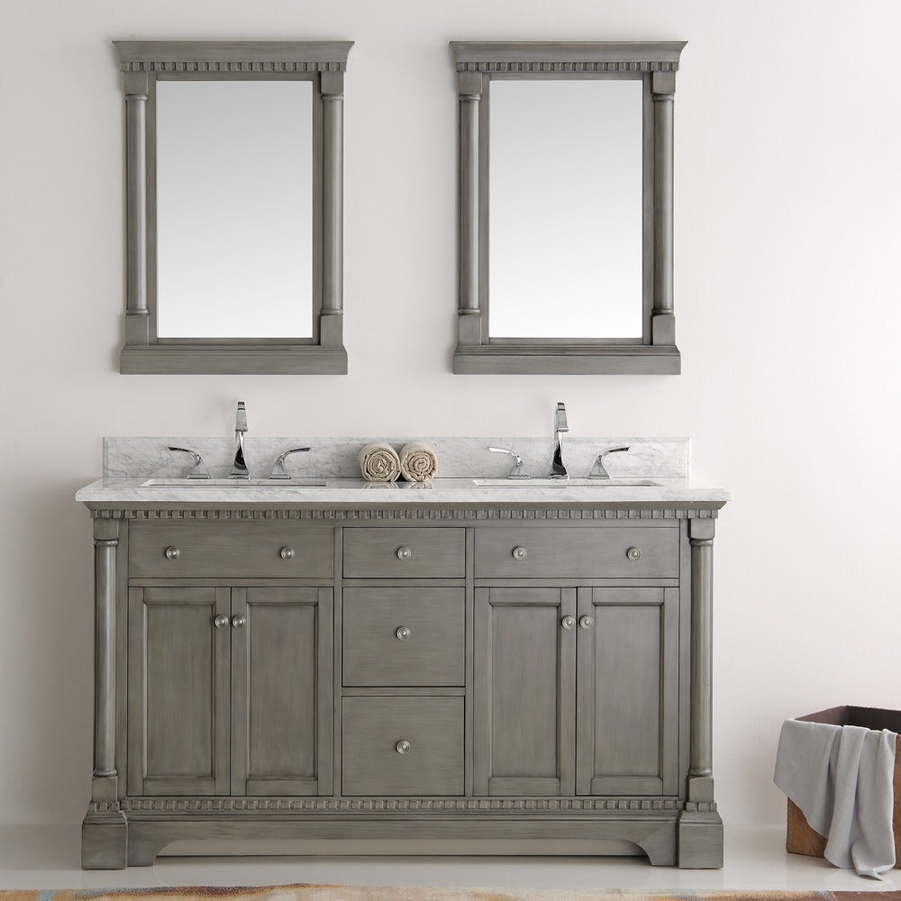 Shop Fresca Kingston Silver Double Sink Traditional 60-inch Mirrored ...