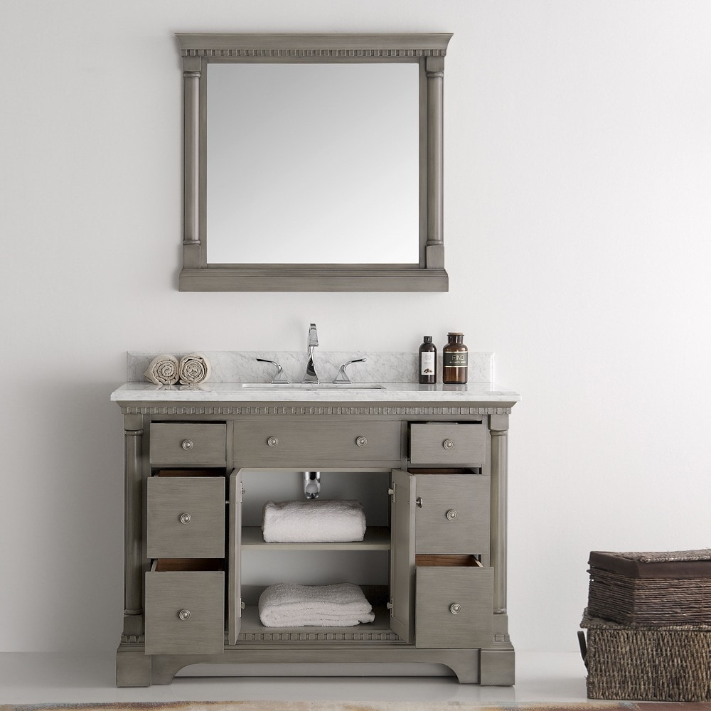Shop Fresca Kingston Antique Silver 48-inch Traditional Bathroom Vanity With Mirror - Free Shipping Today - Overstock.com - 13769651