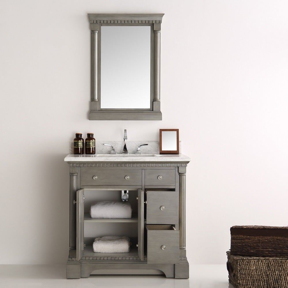 Fresca Kingston Antique Silver 36 Inch Traditional Bathroom Vanity With Mirror Free Shipping Today 13769655