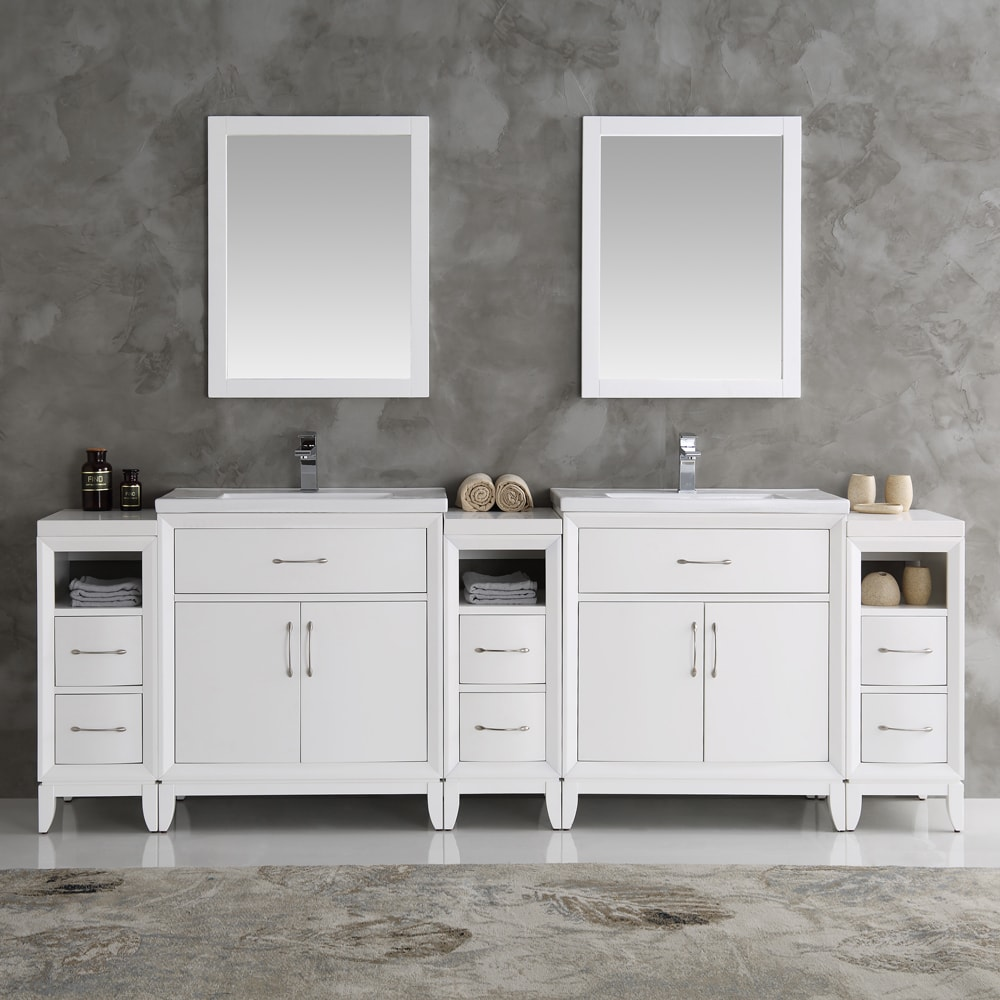 Shop Fresca Cambridge White 96-inch Double-sink Traditional Bathroom ...