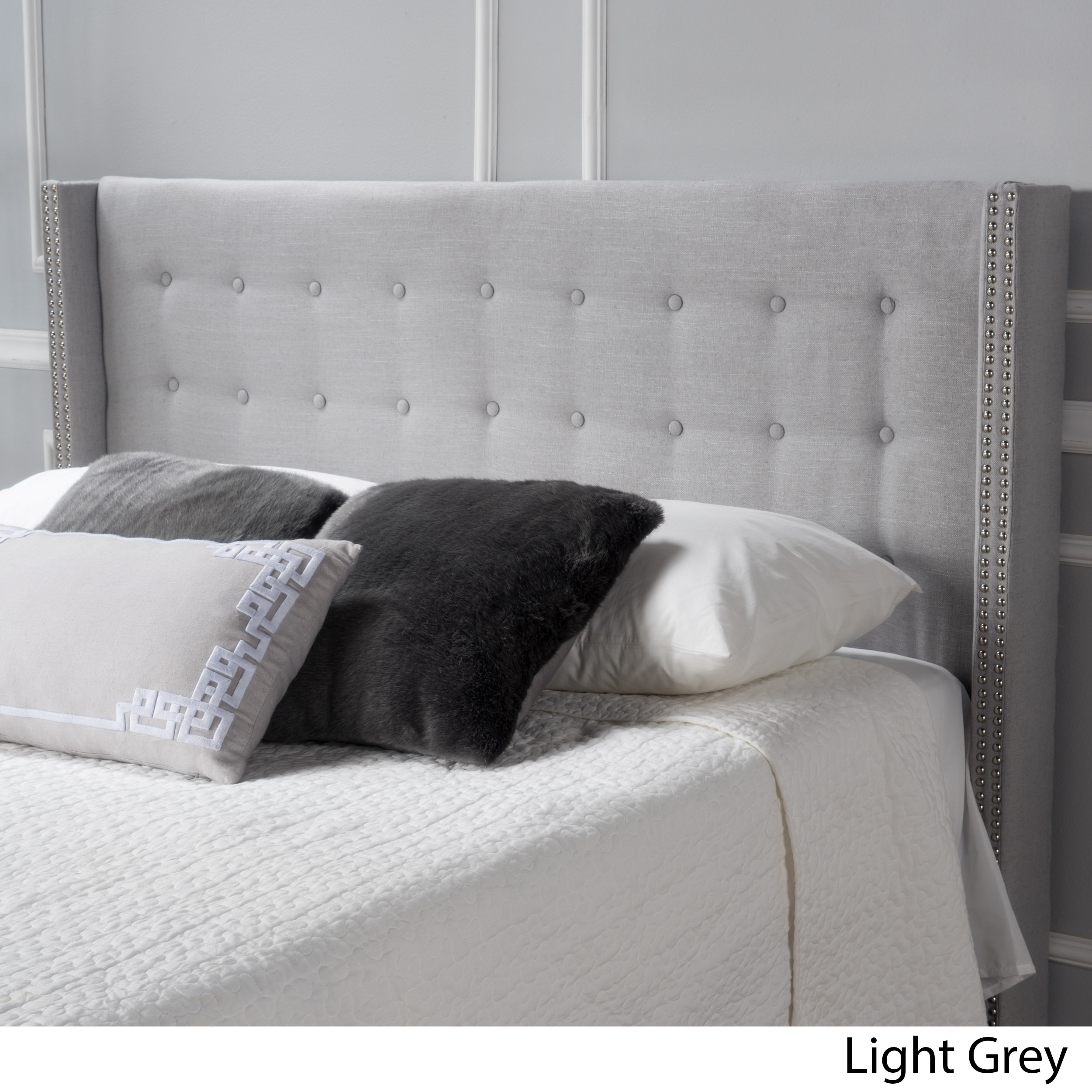 furniture panel silver with finish by and queen headboard gray arched ashley fabric upholstered products design bed