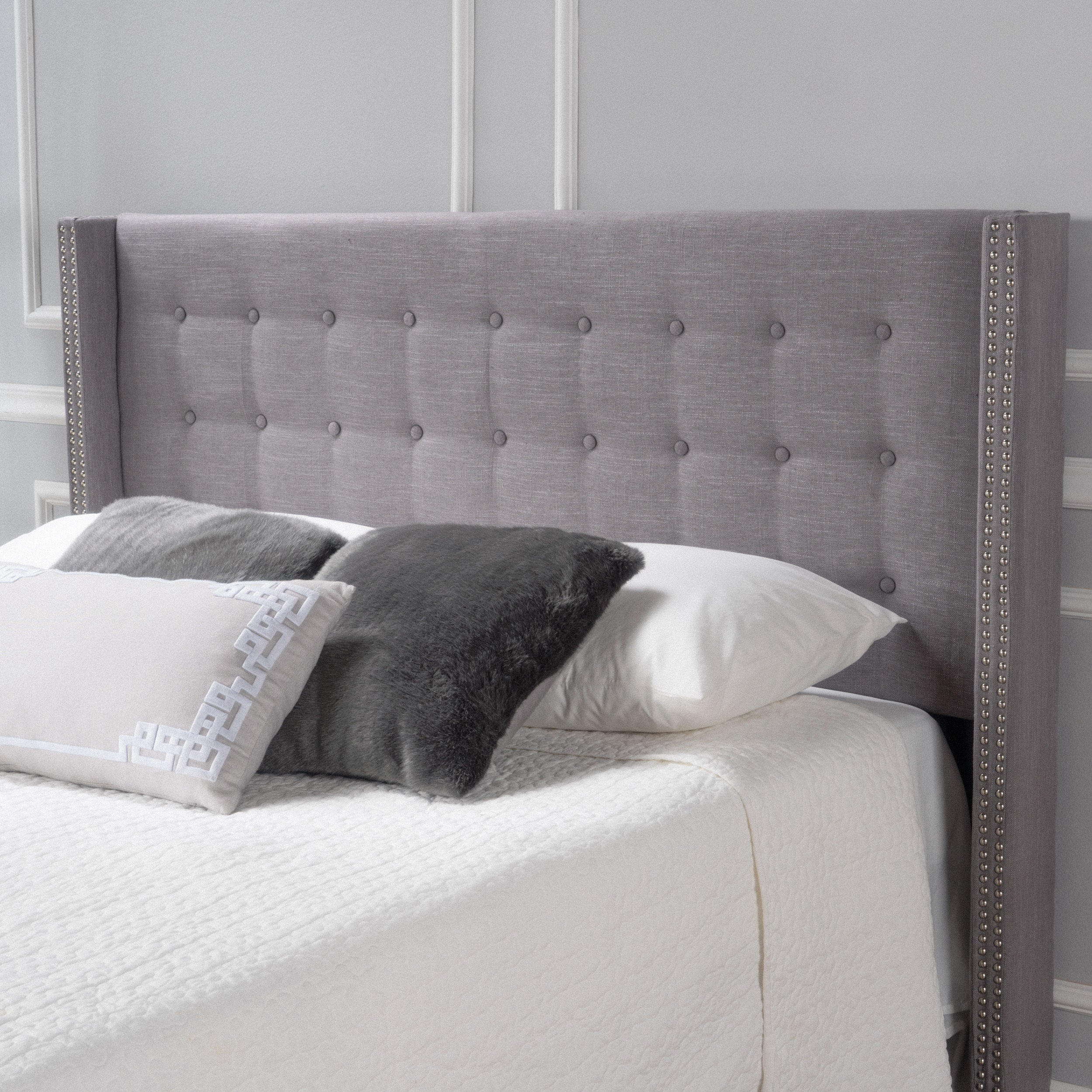 Kendrah Adjule Full Queen Wing Back Studded Fabric Headboard By Christopher Knight Home Free Shipping Today 20423869