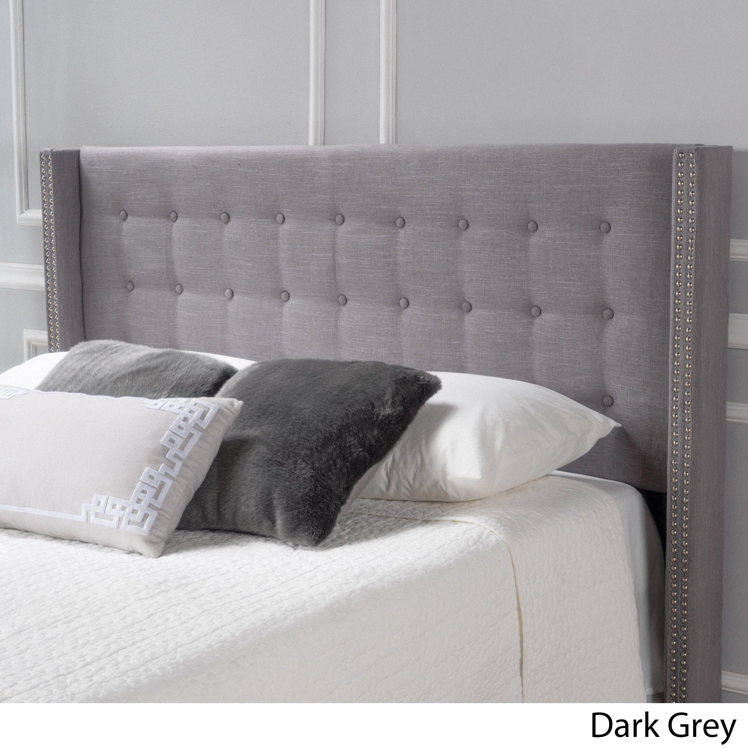 upholstered shop nailhead grey headboard tufted charcoal fabric w trim