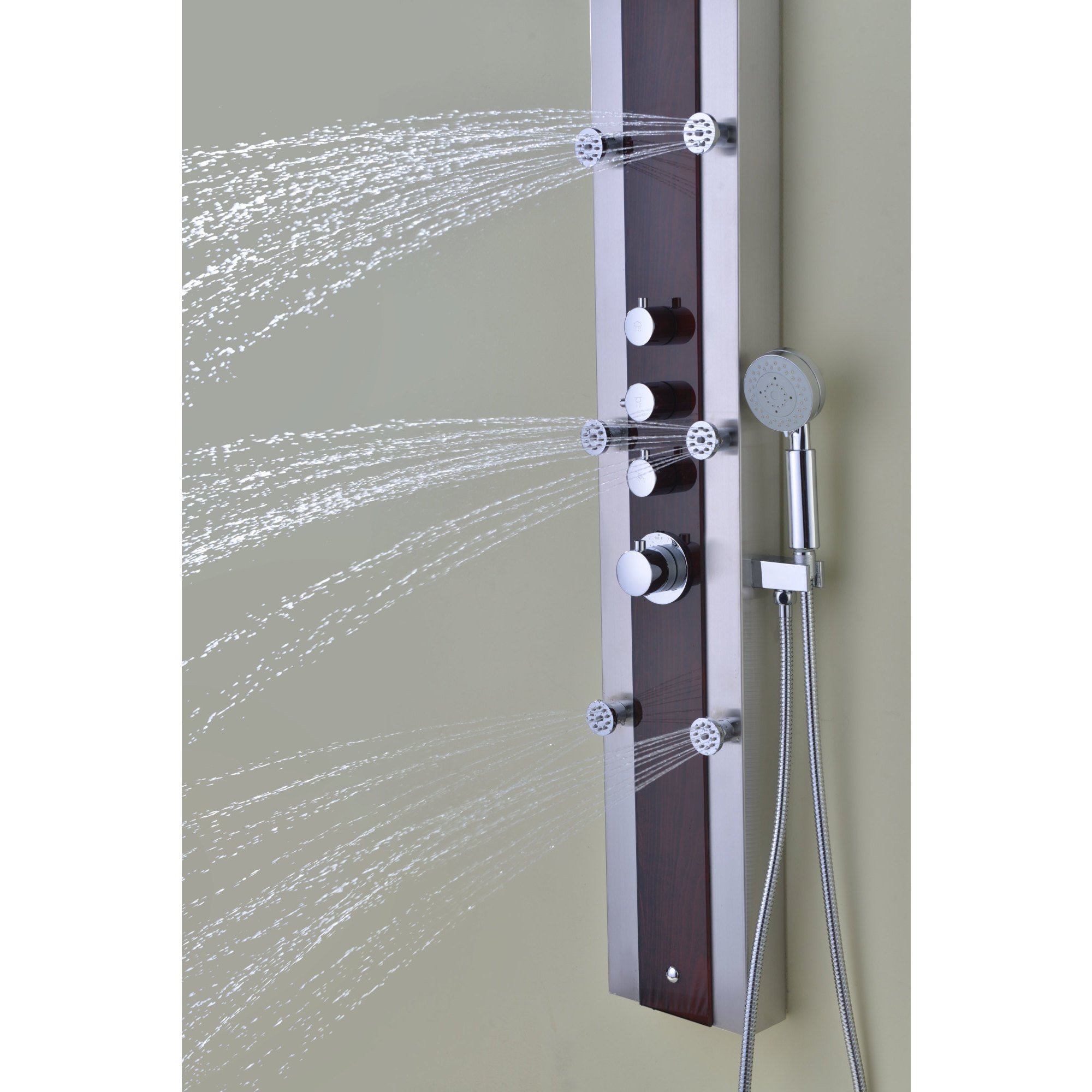 ANZZI Kiki 6-jetted Full Body Shower Panel System in Mahogany Style ...
