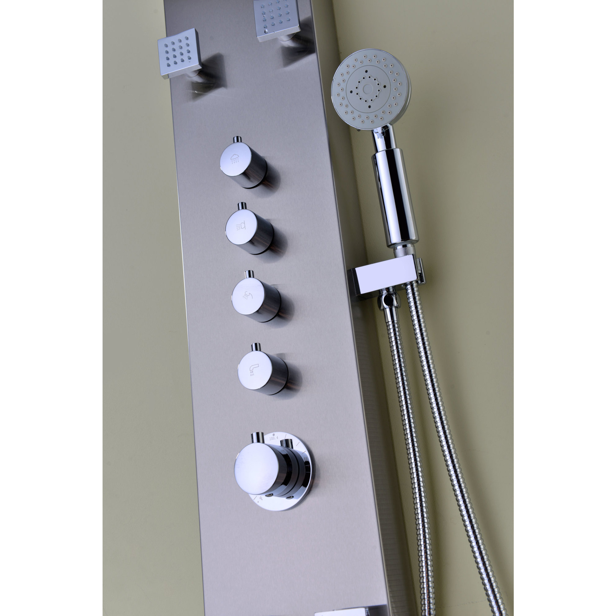 ANZZI Echo 4-jetted Full Body Shower Panel System in Brushed ...